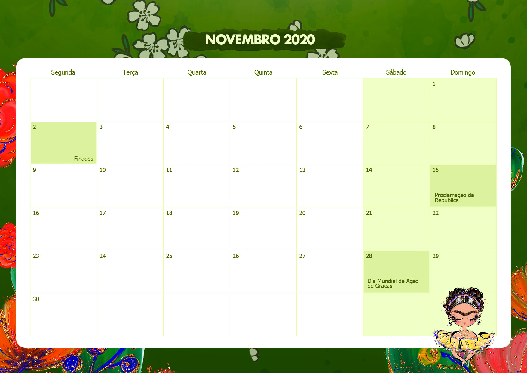 Calendario Mensal Frida Kahlo Novembro 2020