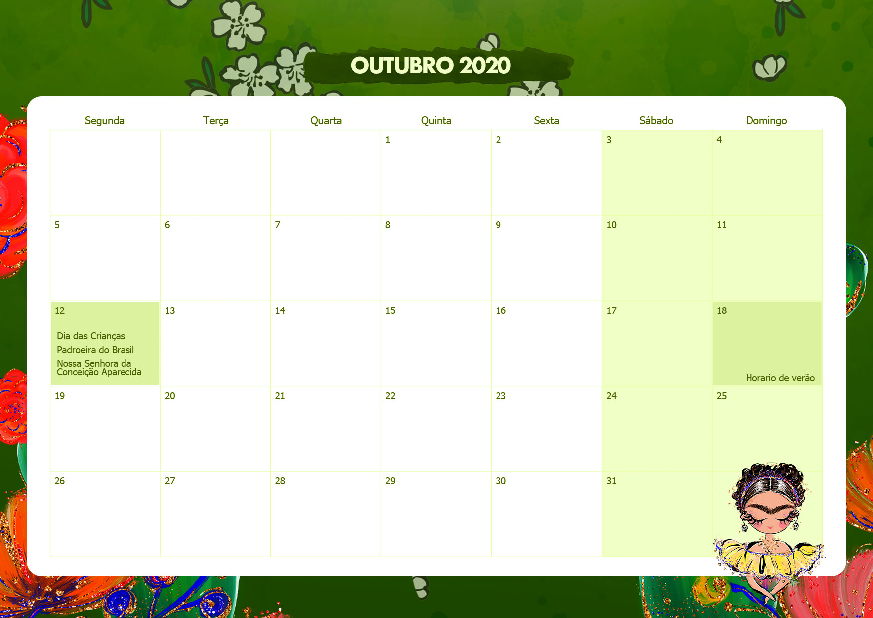 Calendario Mensal Frida Kahlo Outubro 2020