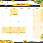 Calendario Mensal Girassol Abril 2020
