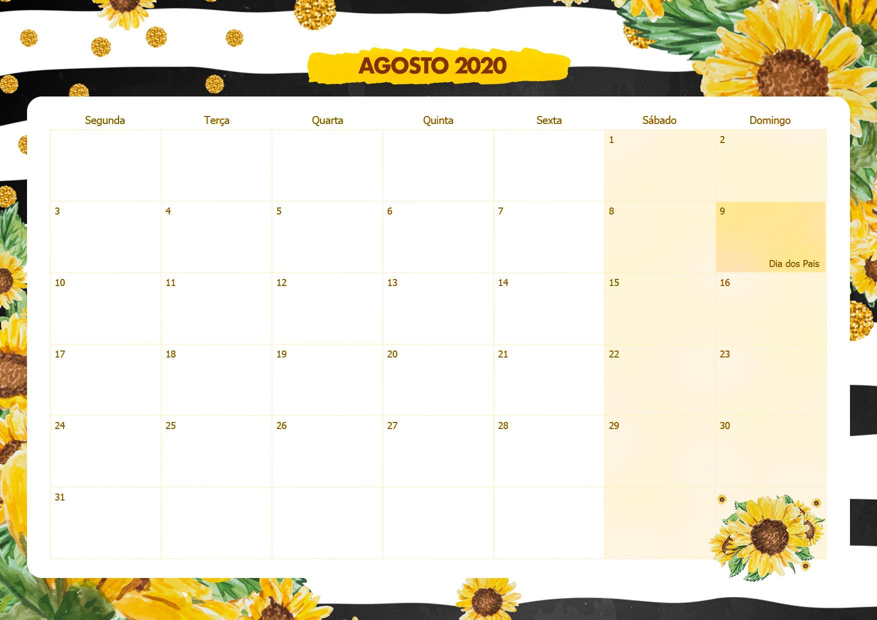 Calendario Mensal Girassol Agosto 2020