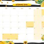 Calendario Mensal Girassol Fevereiro 2020