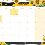 Calendario Mensal Girassol Janeiro 2020