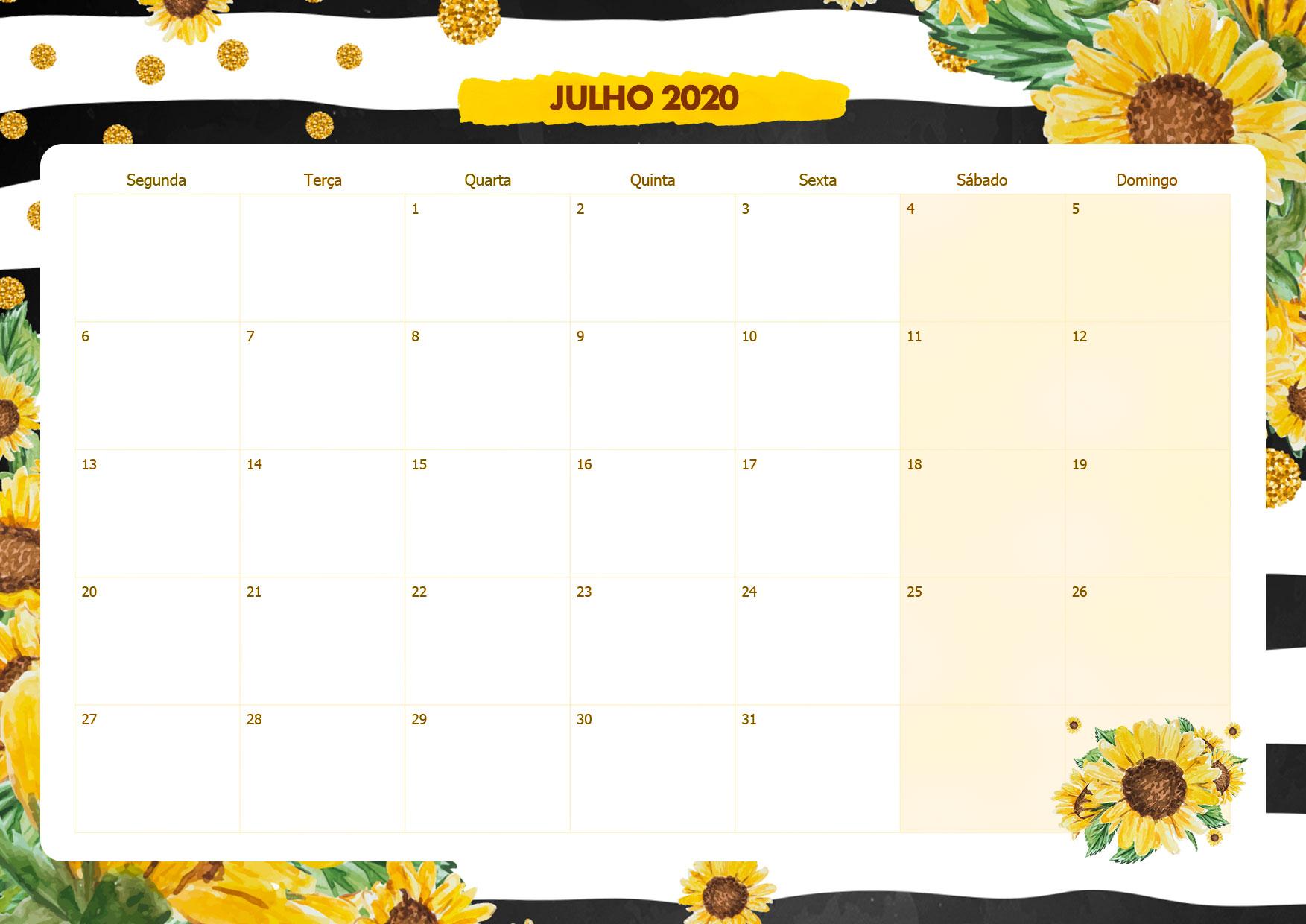 Calendario Mensal Girassol Julho 2020