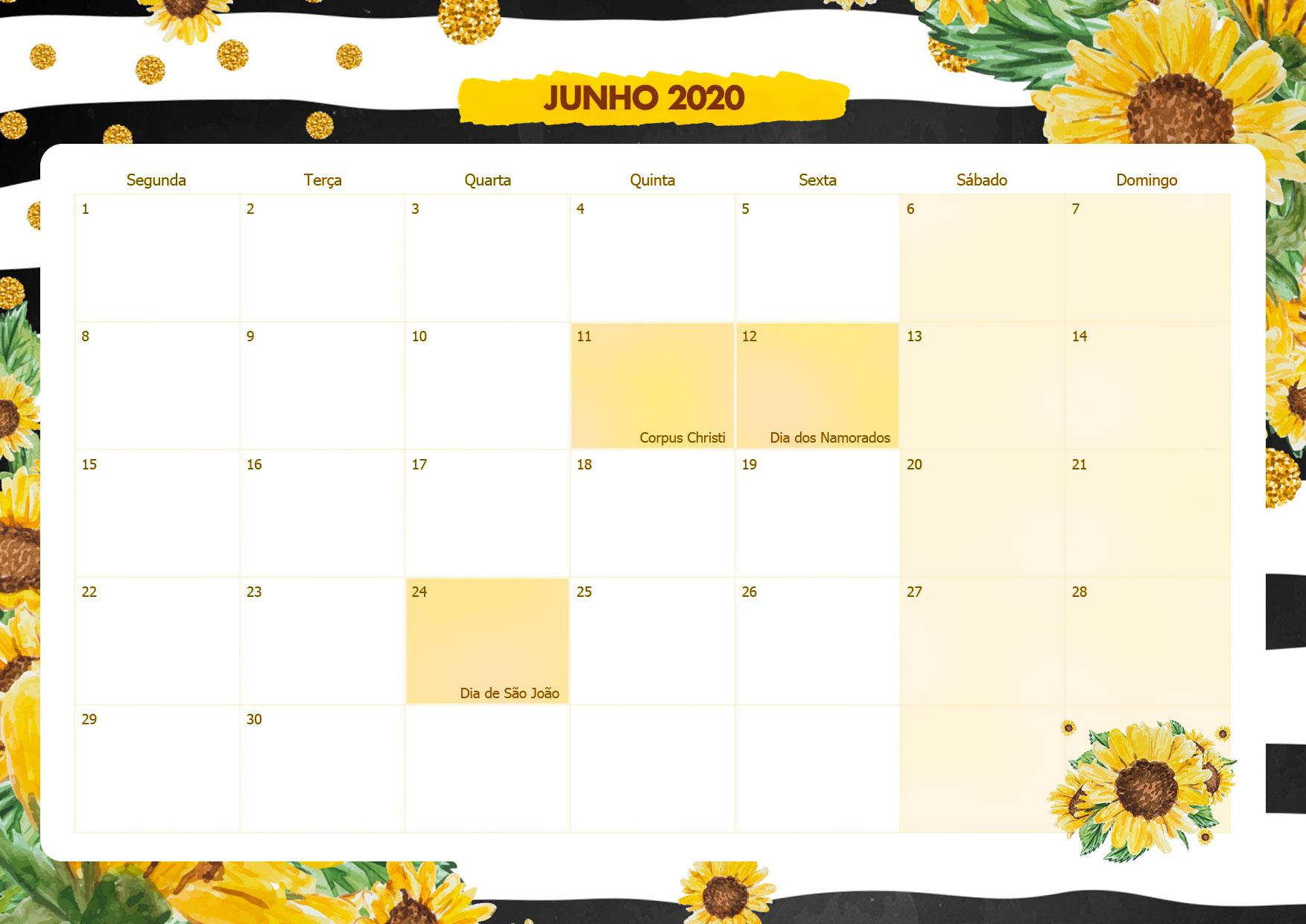 Calendario Mensal Girassol Junho 2020