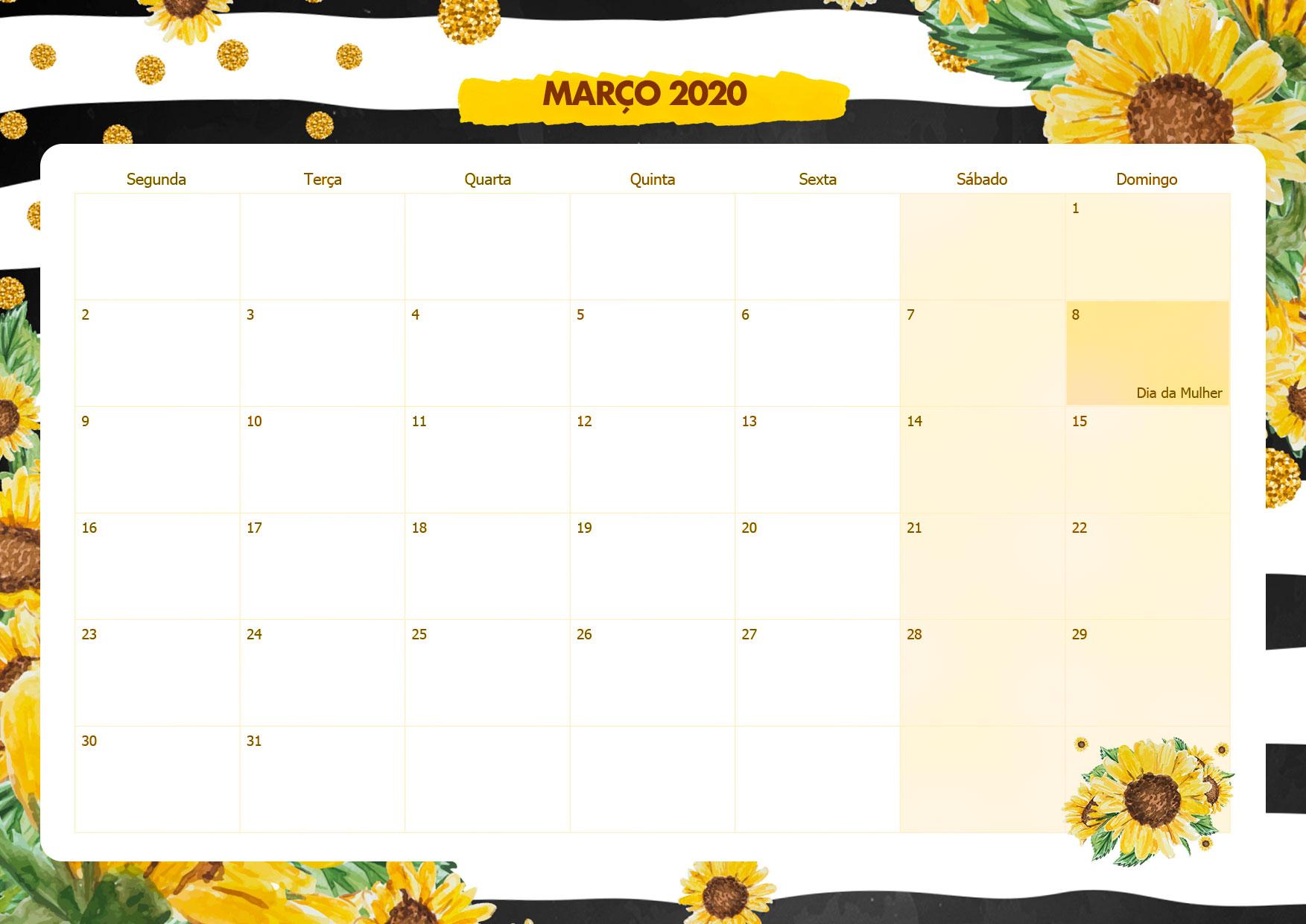 Calendario Mensal Girassol Marco 2020