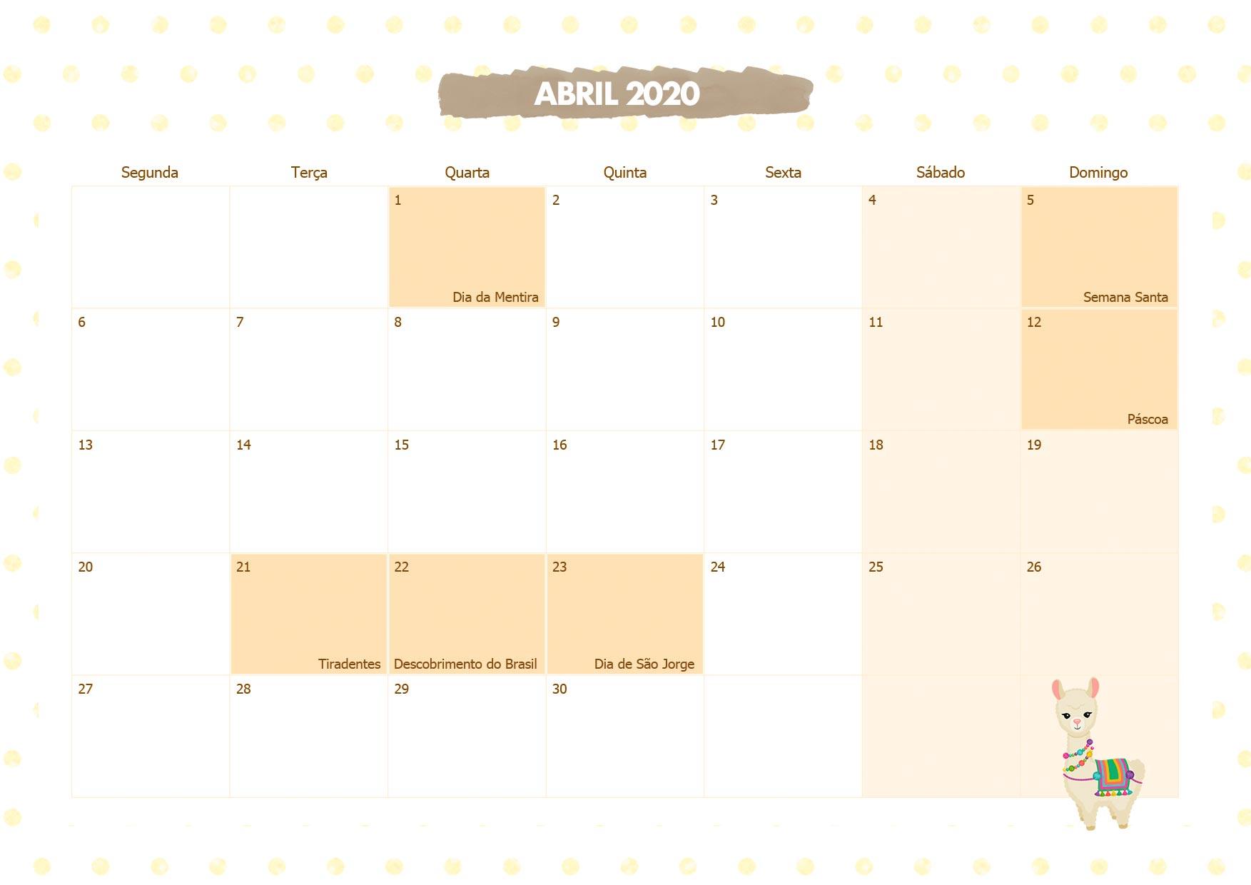 Calendario Mensal Lhama Amarela Abril 2020