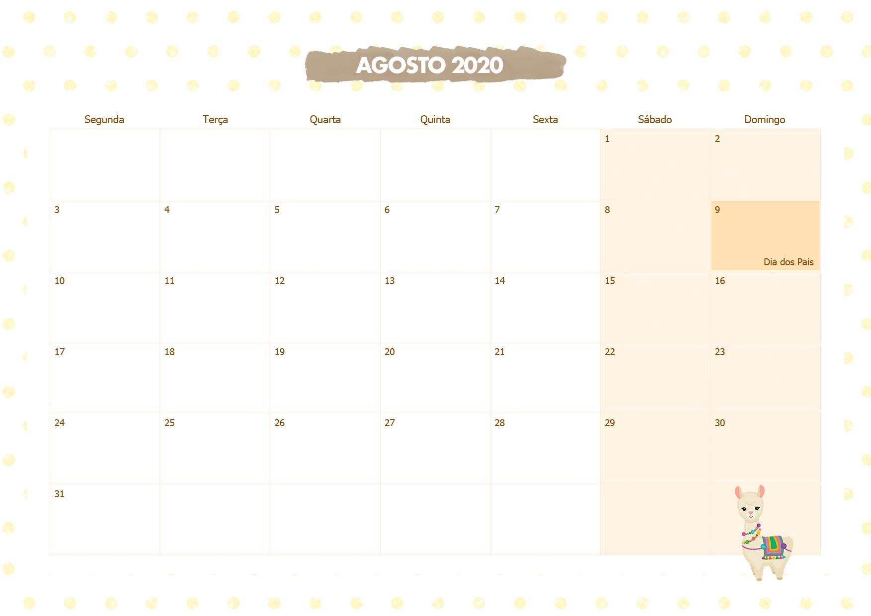 Calendario Mensal Lhama Amarela Agosto 2020
