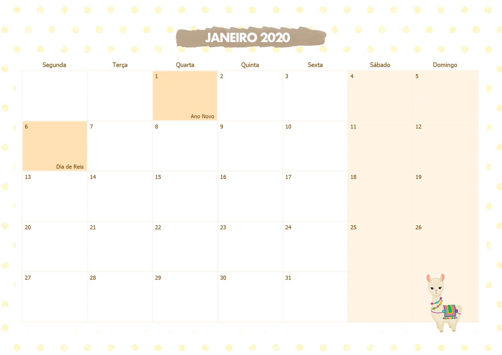 Calendario Mensal Lhama Amarela Janeiro 2020