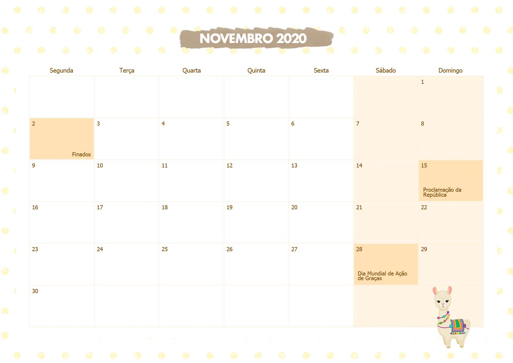 Calendario Mensal Lhama Amarela Novembro 2020