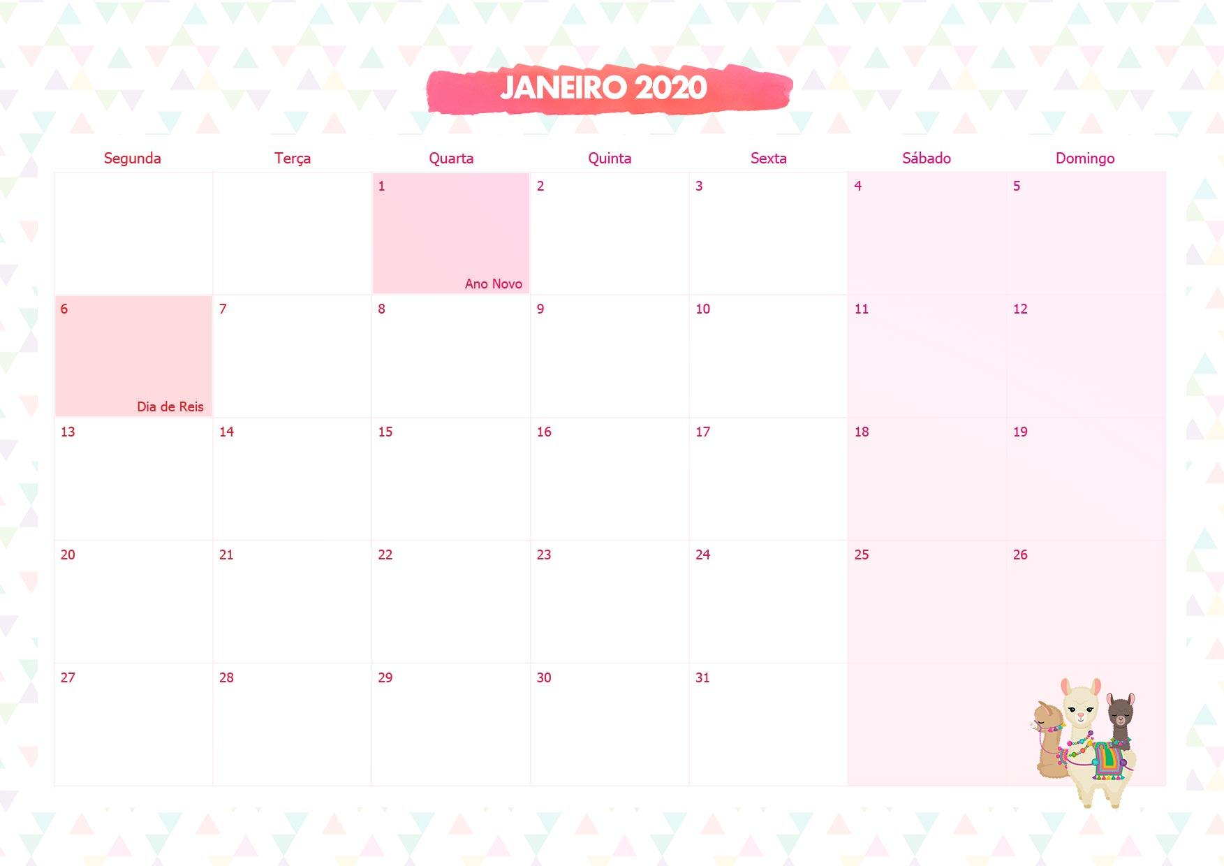 Calendario Mensal Lhama Rosa Janeiro 2020