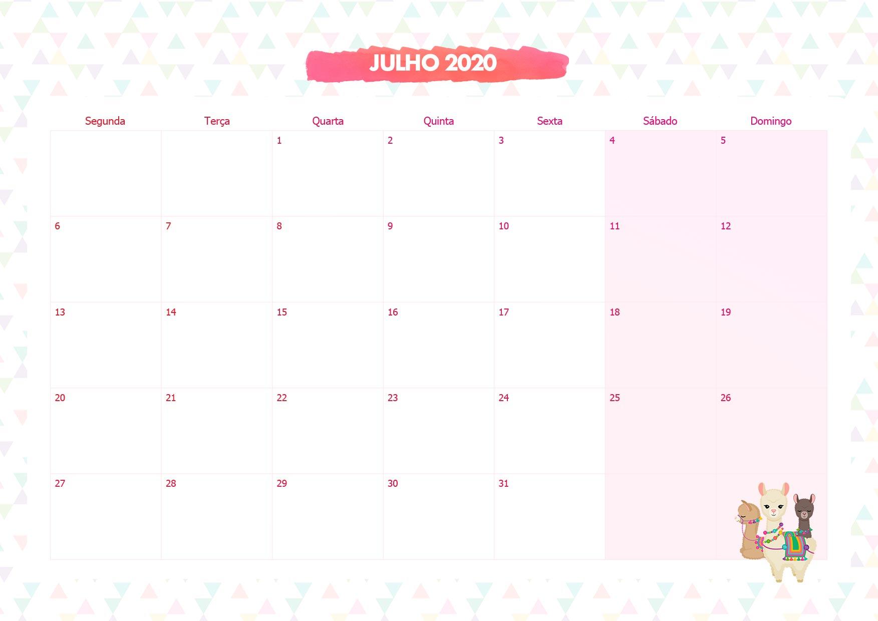 Calendario Mensal Lhama Rosa Julho 2020