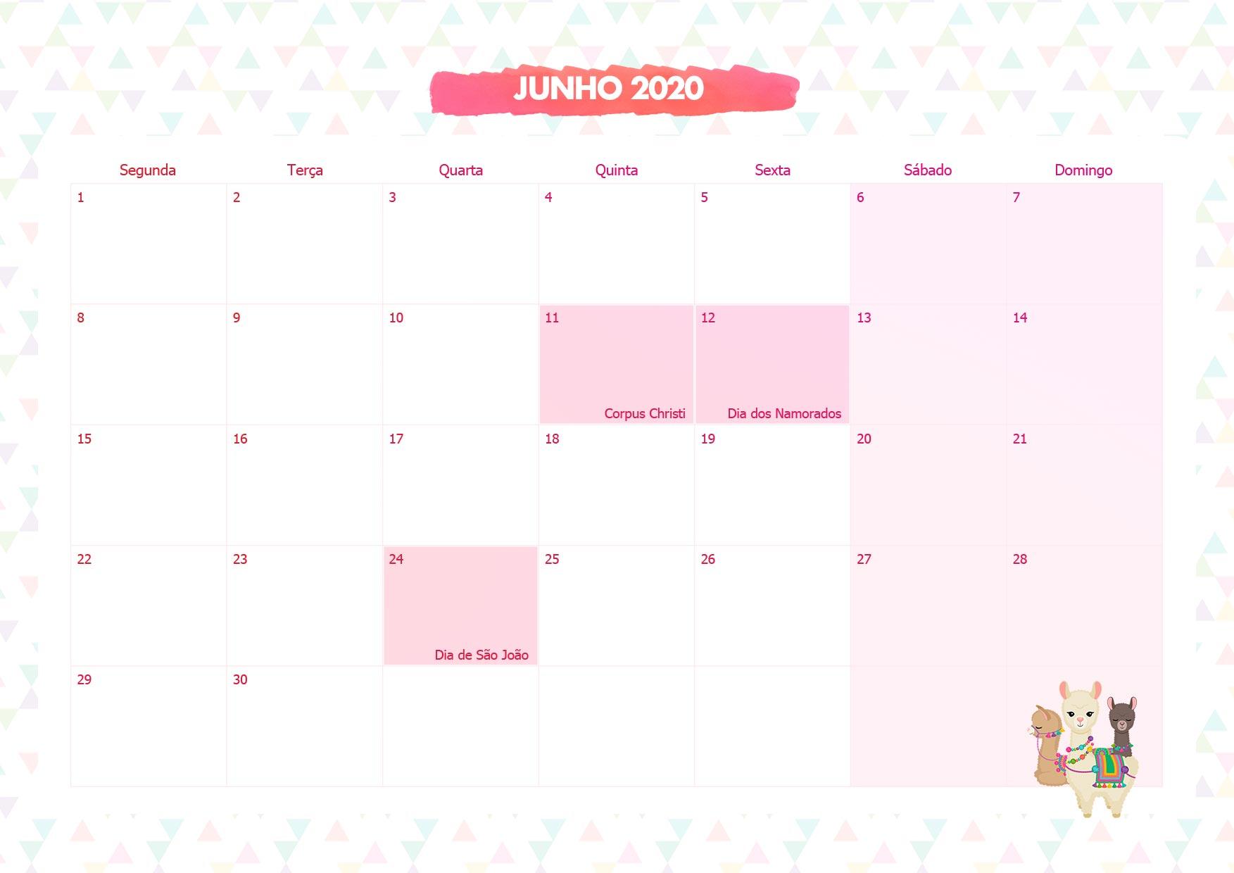 Calendario Mensal Lhama Rosa Junho 2020