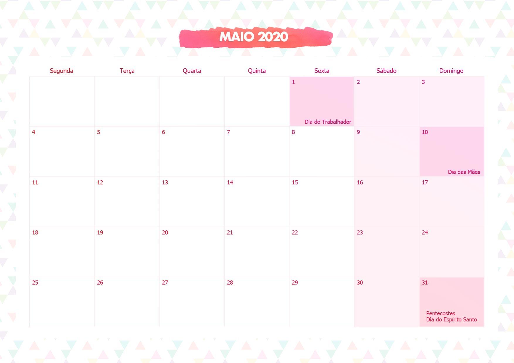 Calendario Mensal Lhama Rosa Maio 2020