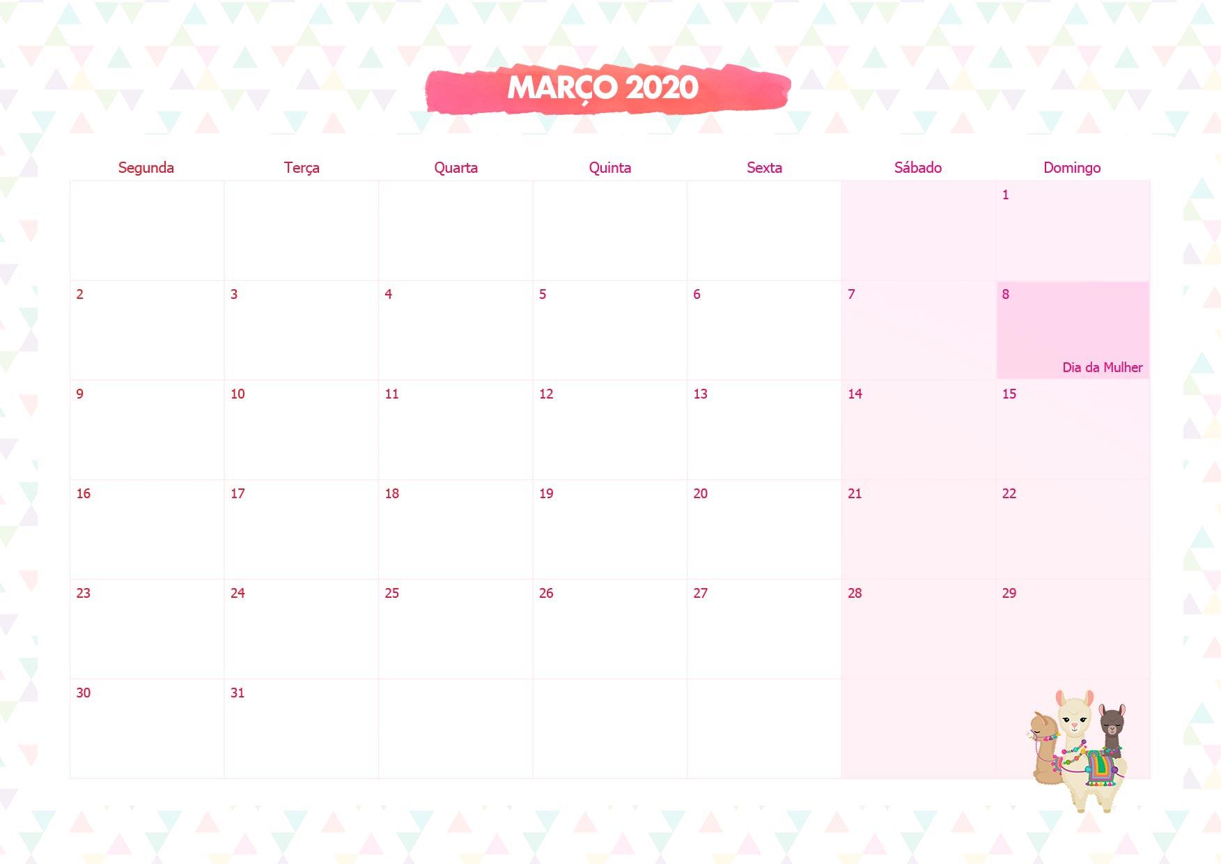 Calendario Mensal Lhama Rosa Marco 2020