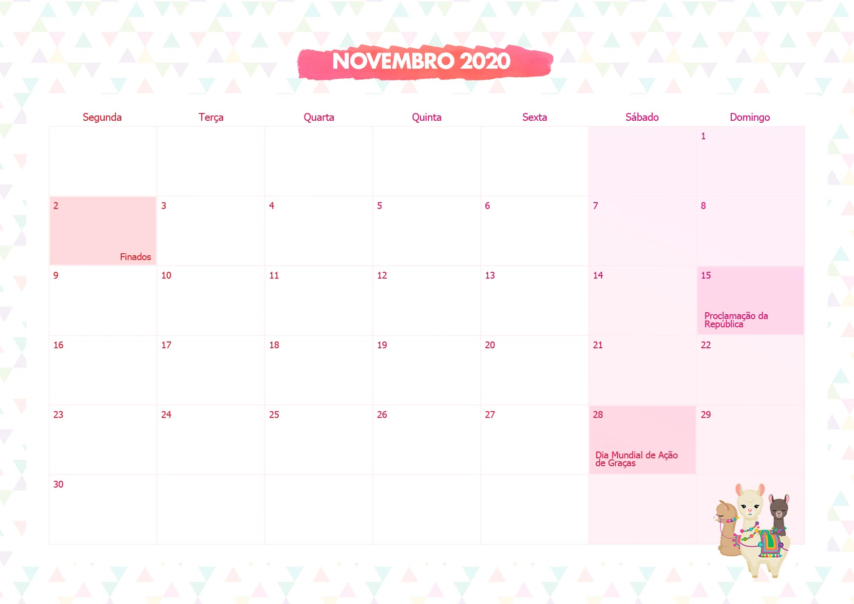 Calendario Mensal Lhama Rosa Novembro 2020