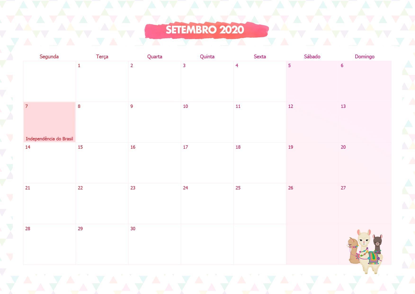 Calendario Mensal Lhama Rosa Setembro 2020