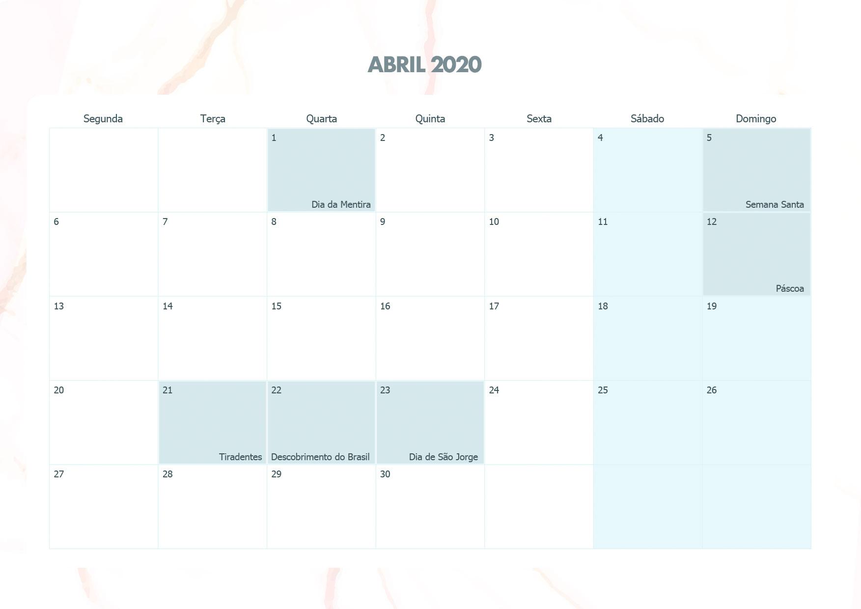 Calendario Mensal Marmore Abril 2020