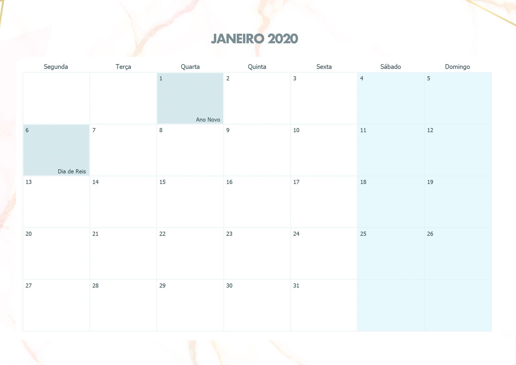 Calendario Mensal Marmore Janeiro 2020