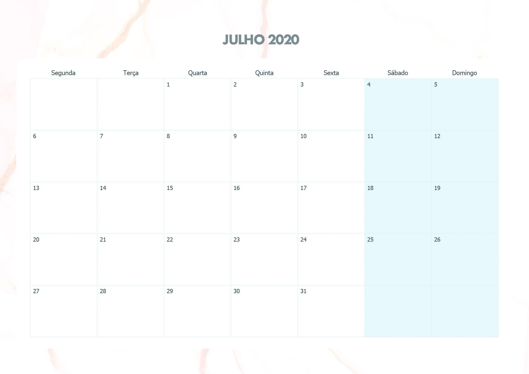 Calendario Mensal Marmore Julho 2020