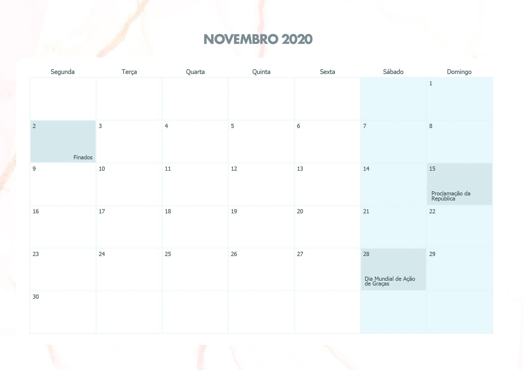 Calendario Mensal Marmore Novembro 2020