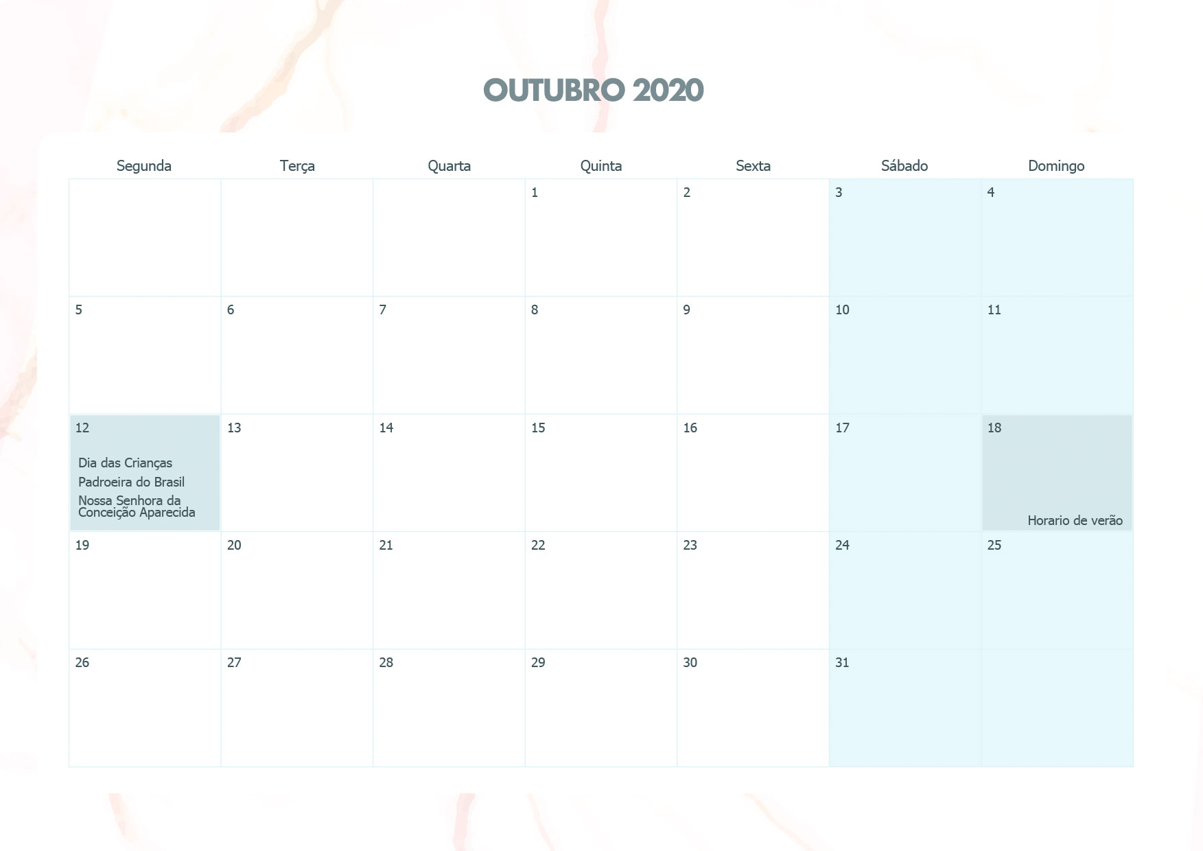Calendario Mensal Marmore Outubro 2020