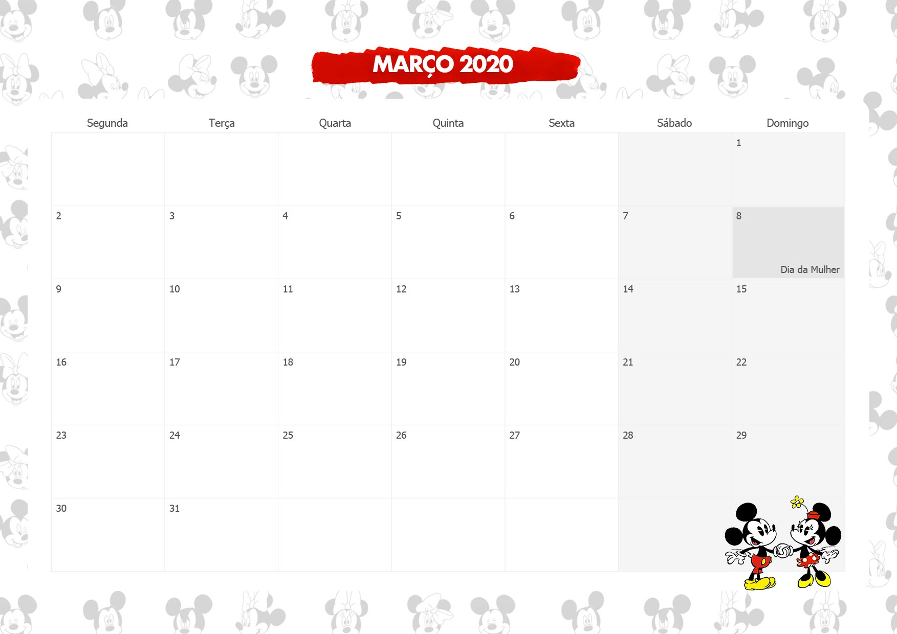 Calendario Mensal Mickey e Minnie Marco 2020