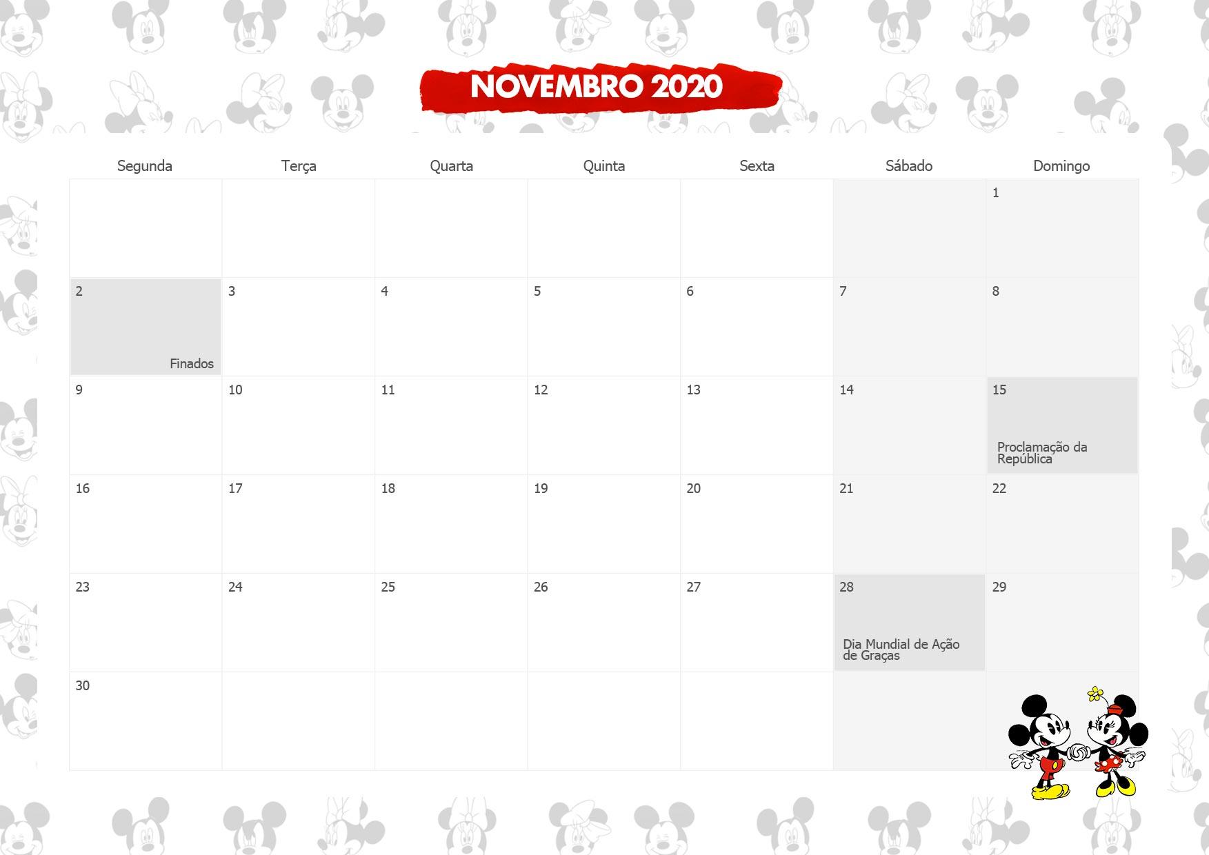 Calendario Mensal Mickey e Minnie Novembro 2020