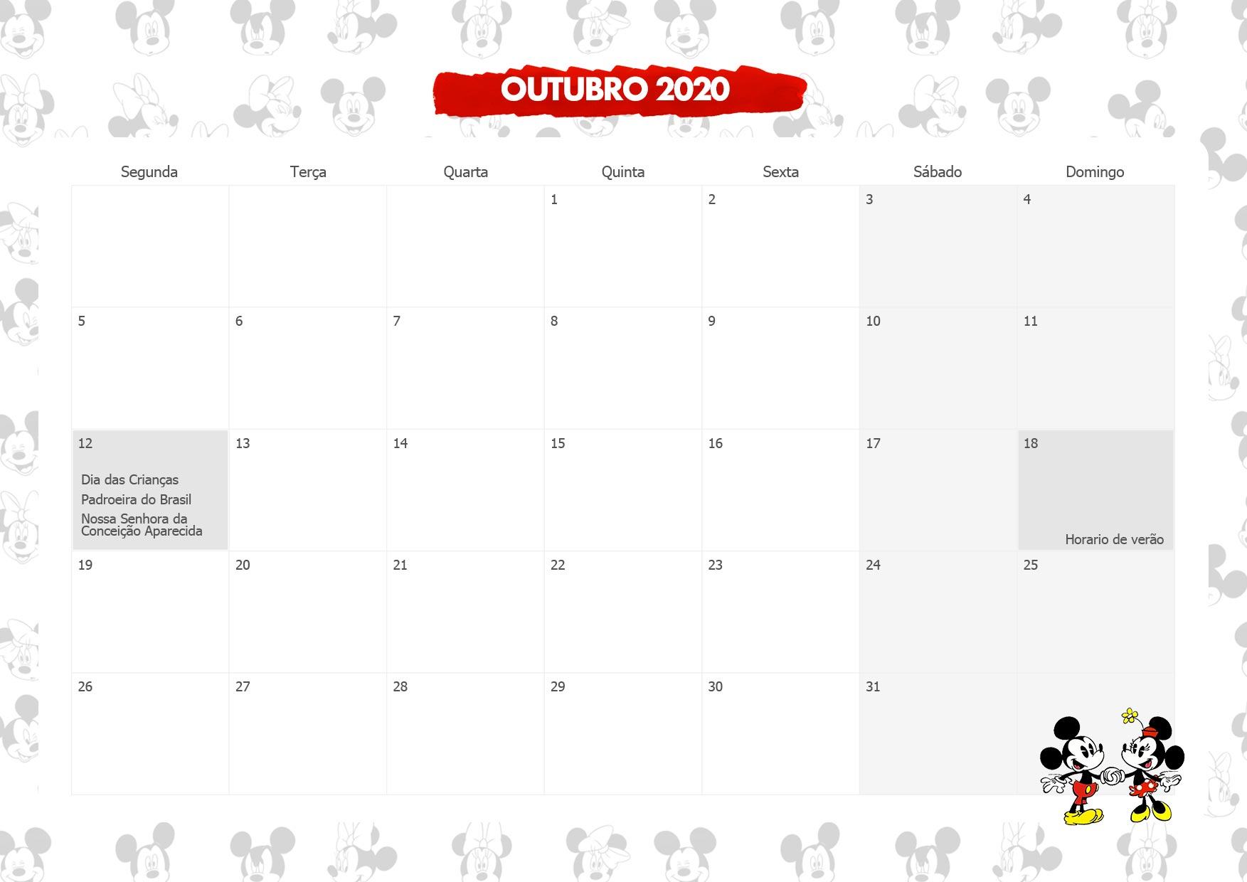 Calendario Mensal Mickey e Minnie Outubro 2020