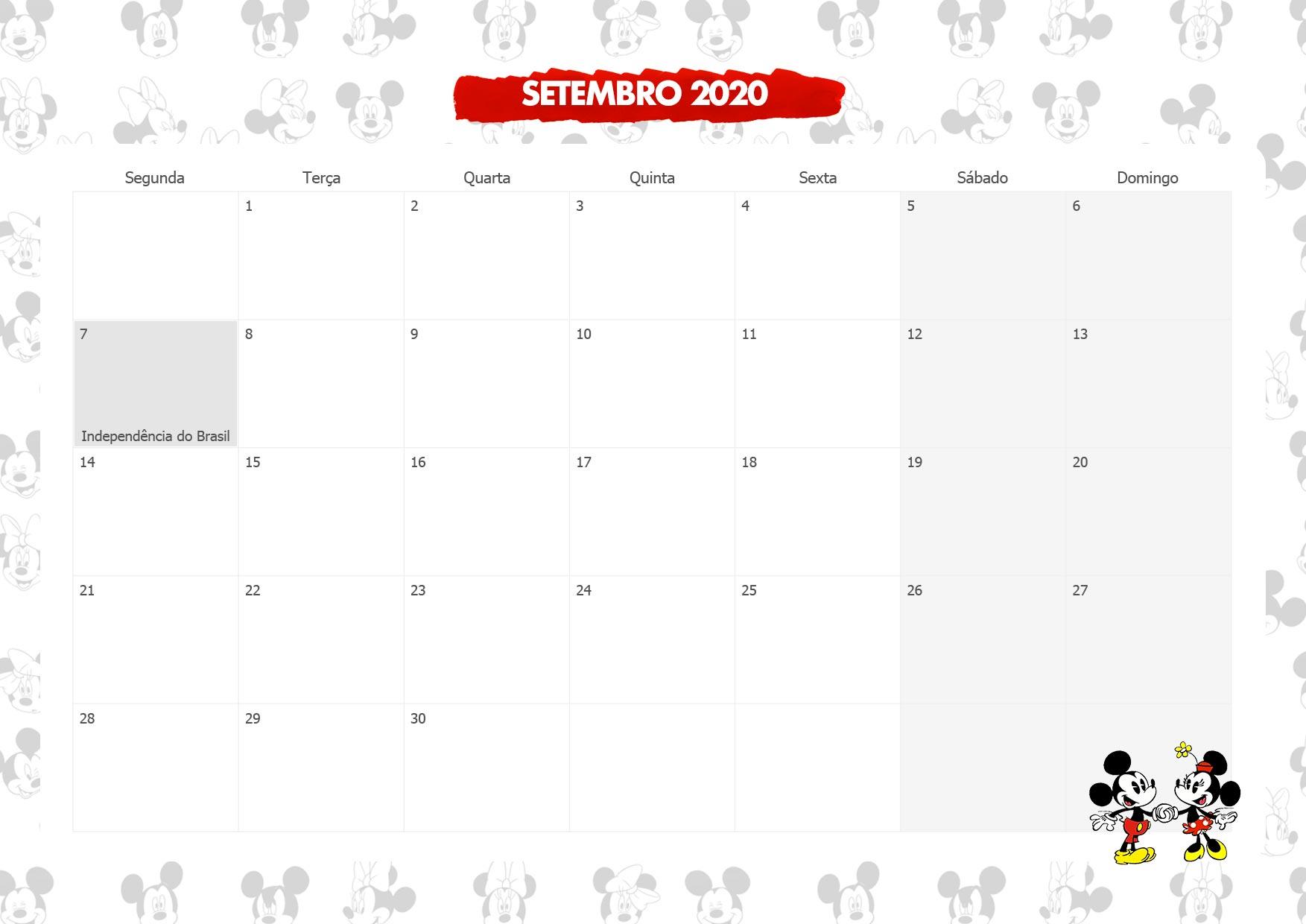 Calendario Mensal Mickey e Minnie Setembro 2020