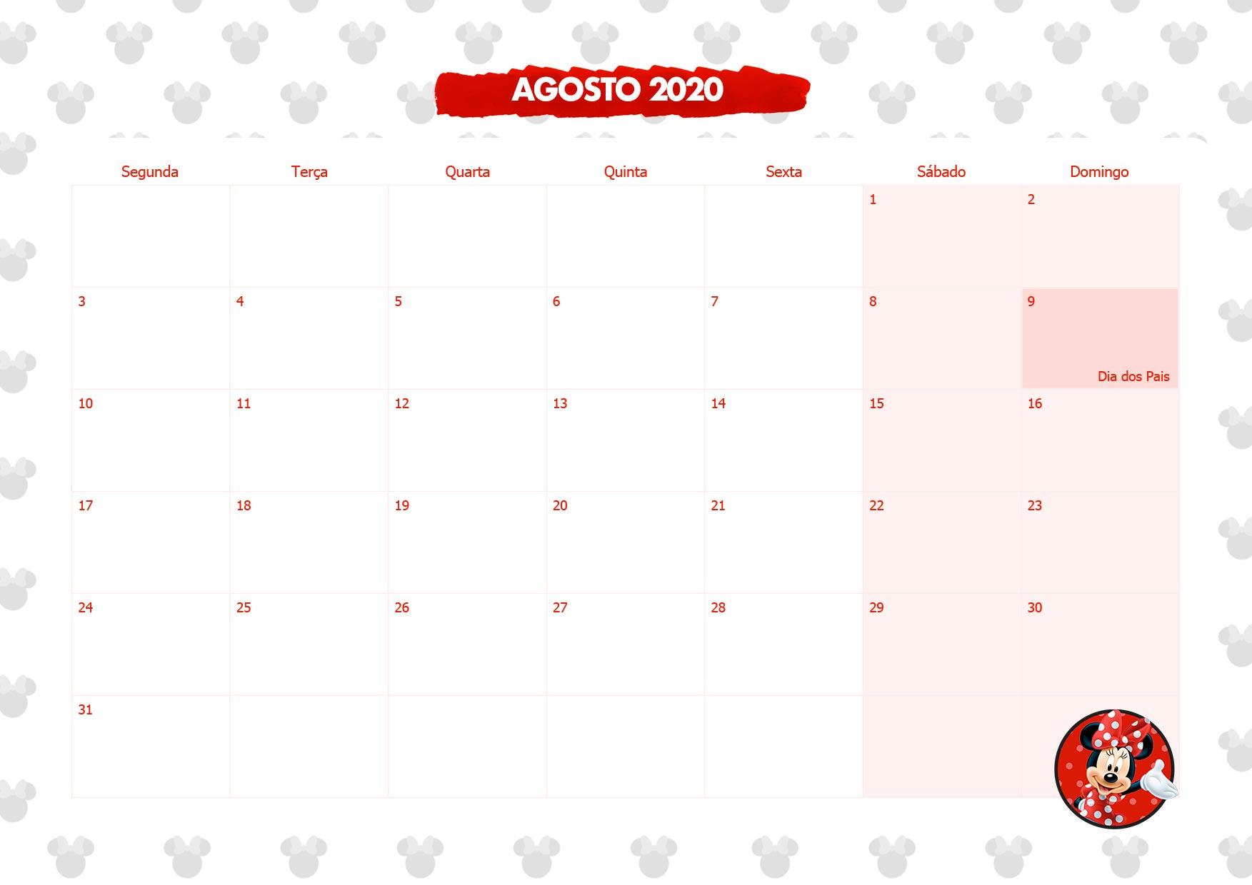 Calendario Mensal Minnie Vermelha Agosto 2020