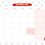 Calendario Mensal Minnie Vermelha Dezembro 2020