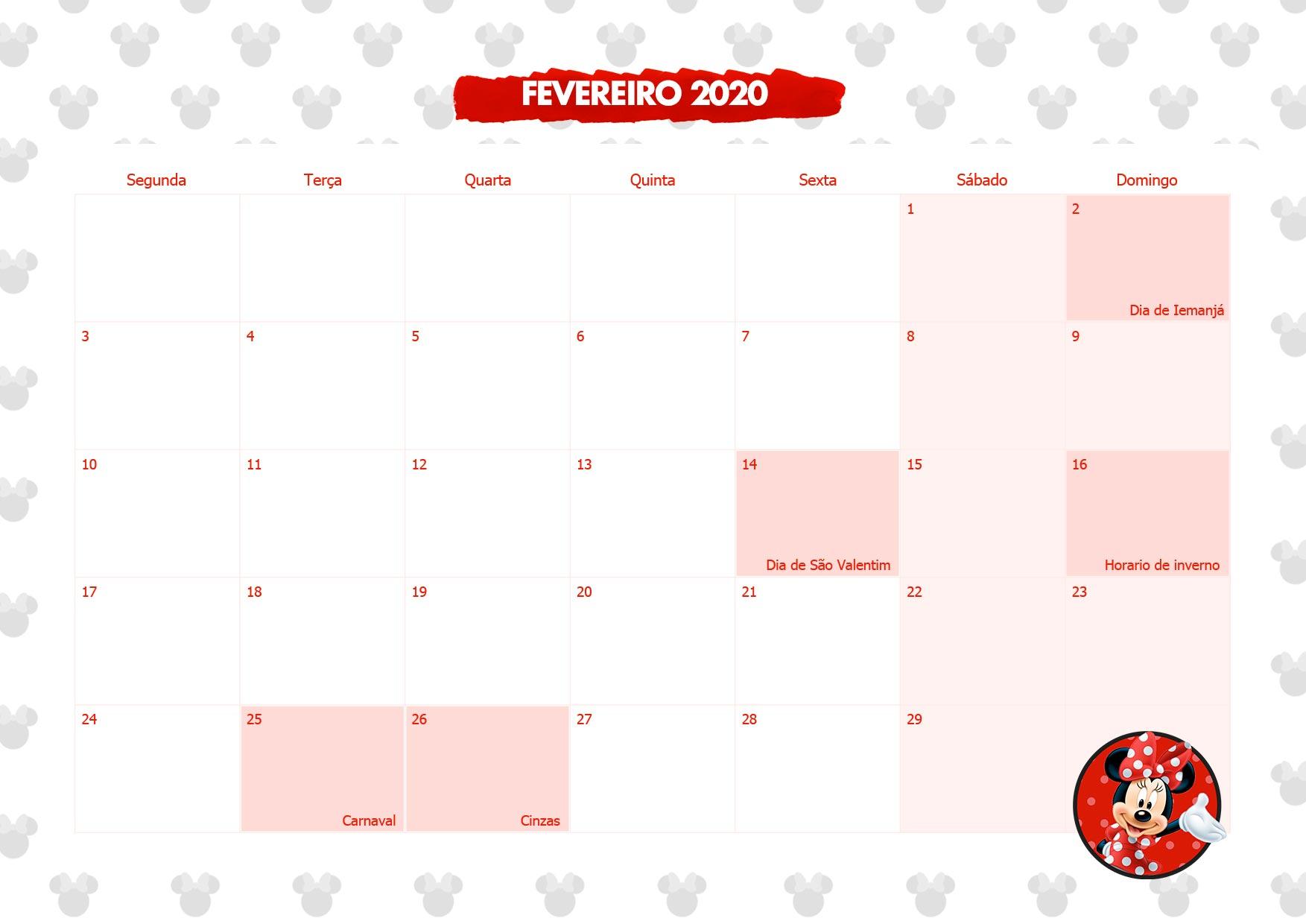 Calendario Mensal Minnie Vermelha Fevereiro 2020