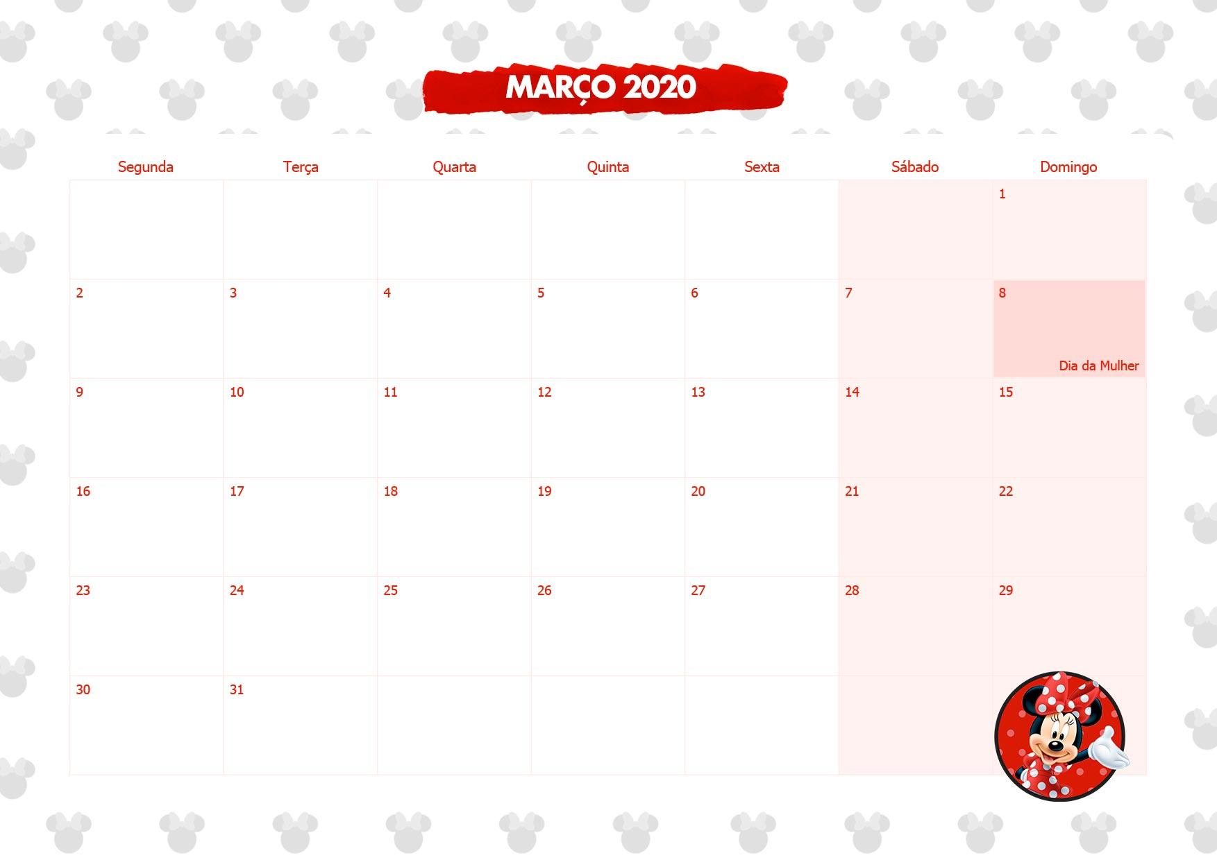 Calendario Mensal Minnie Vermelha Marco 2020