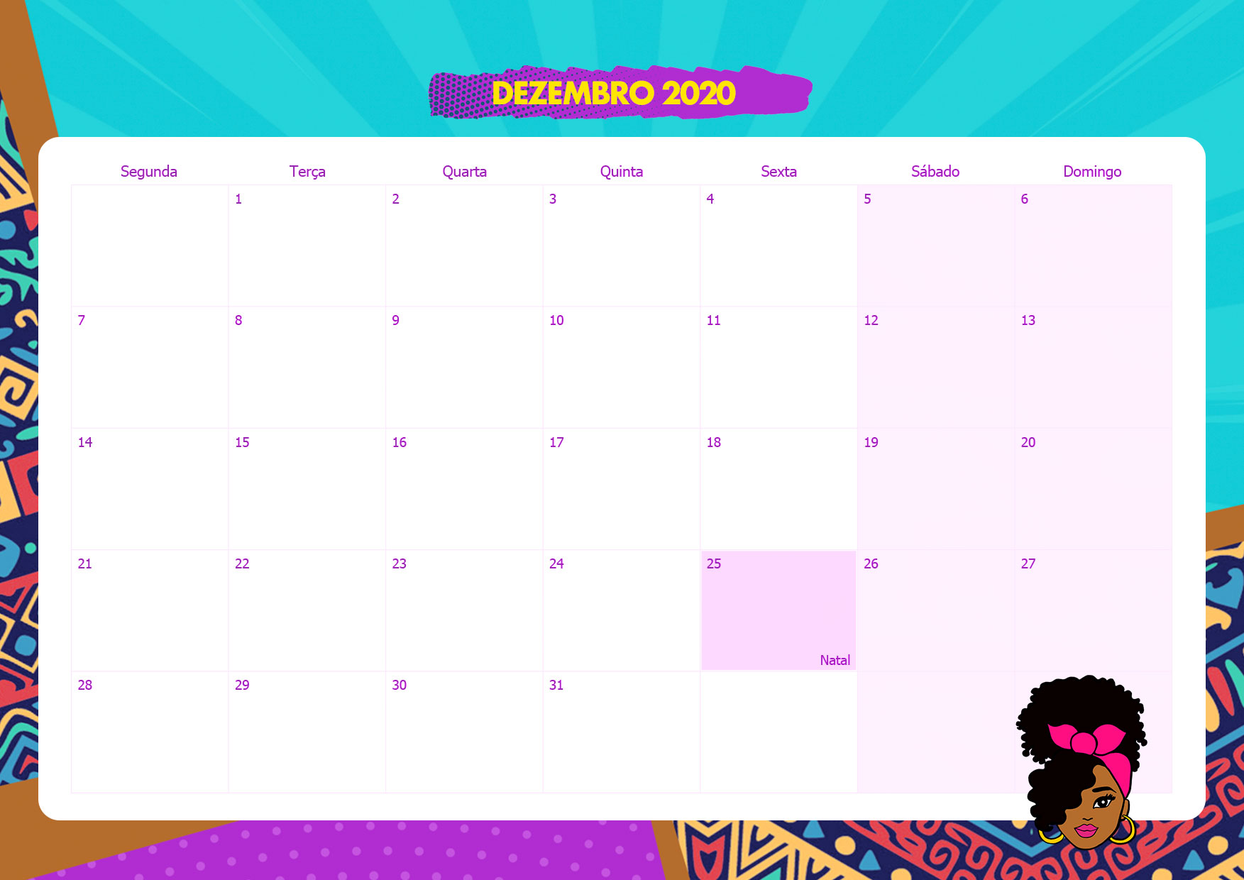 Calendario Mensal Mulher Afro Dezembro 2020