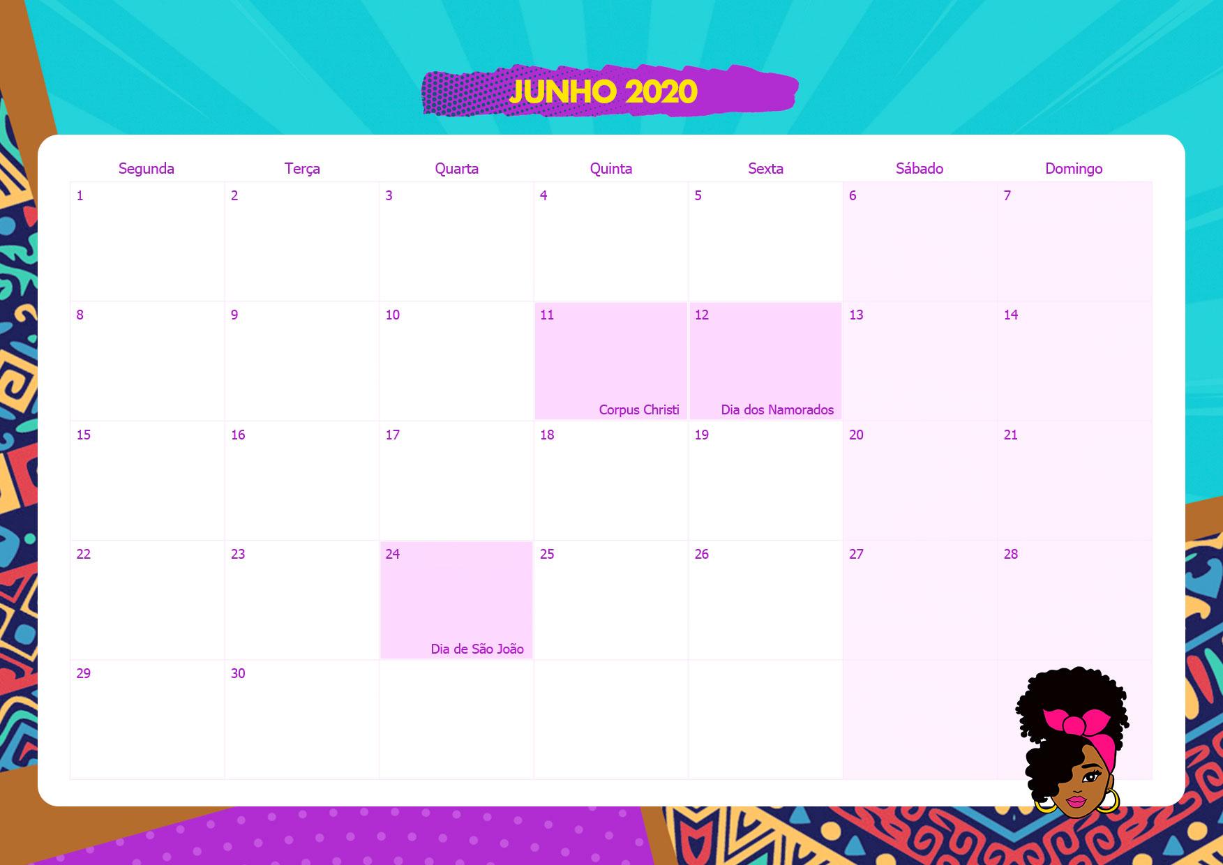 Calendario Mensal Mulher Afro Junho 2020