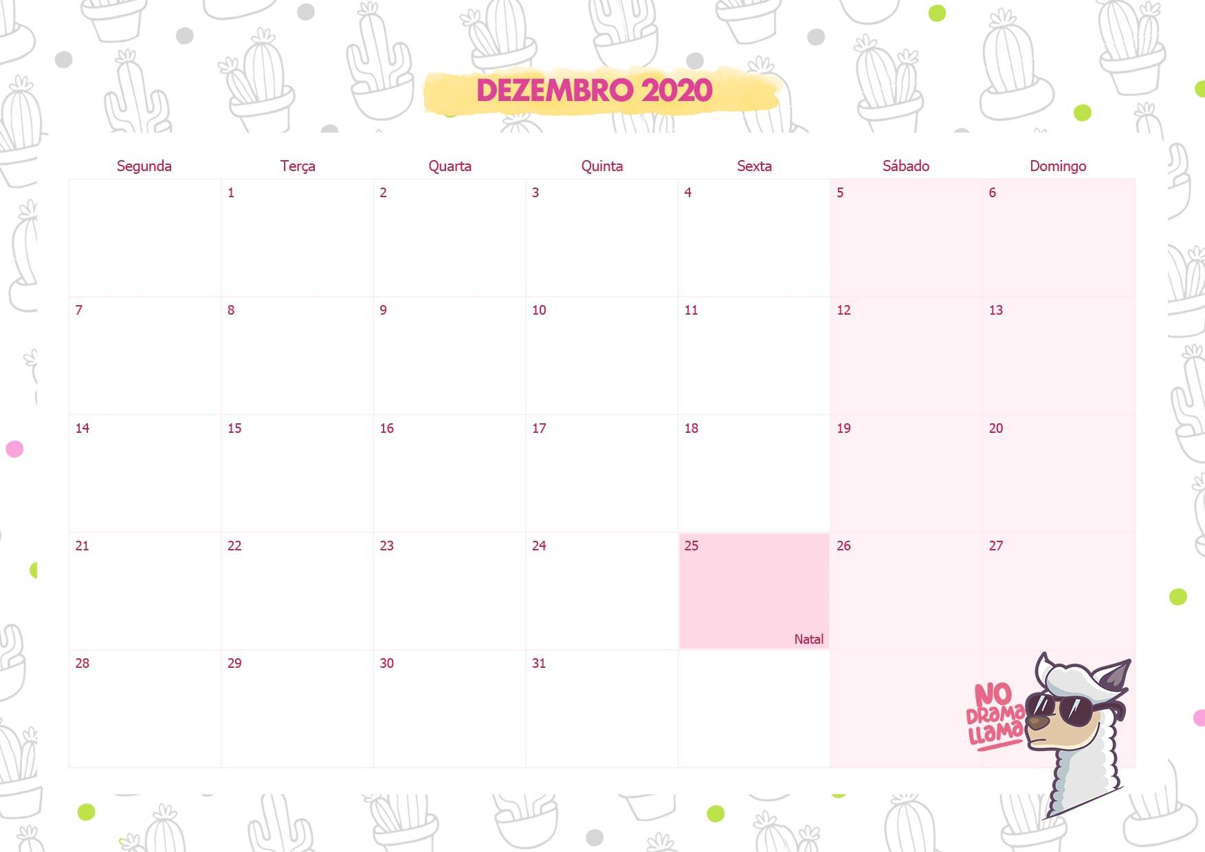 Calendario Mensal No Drama Lhama Dezembro 2020 - Fazendo a ...