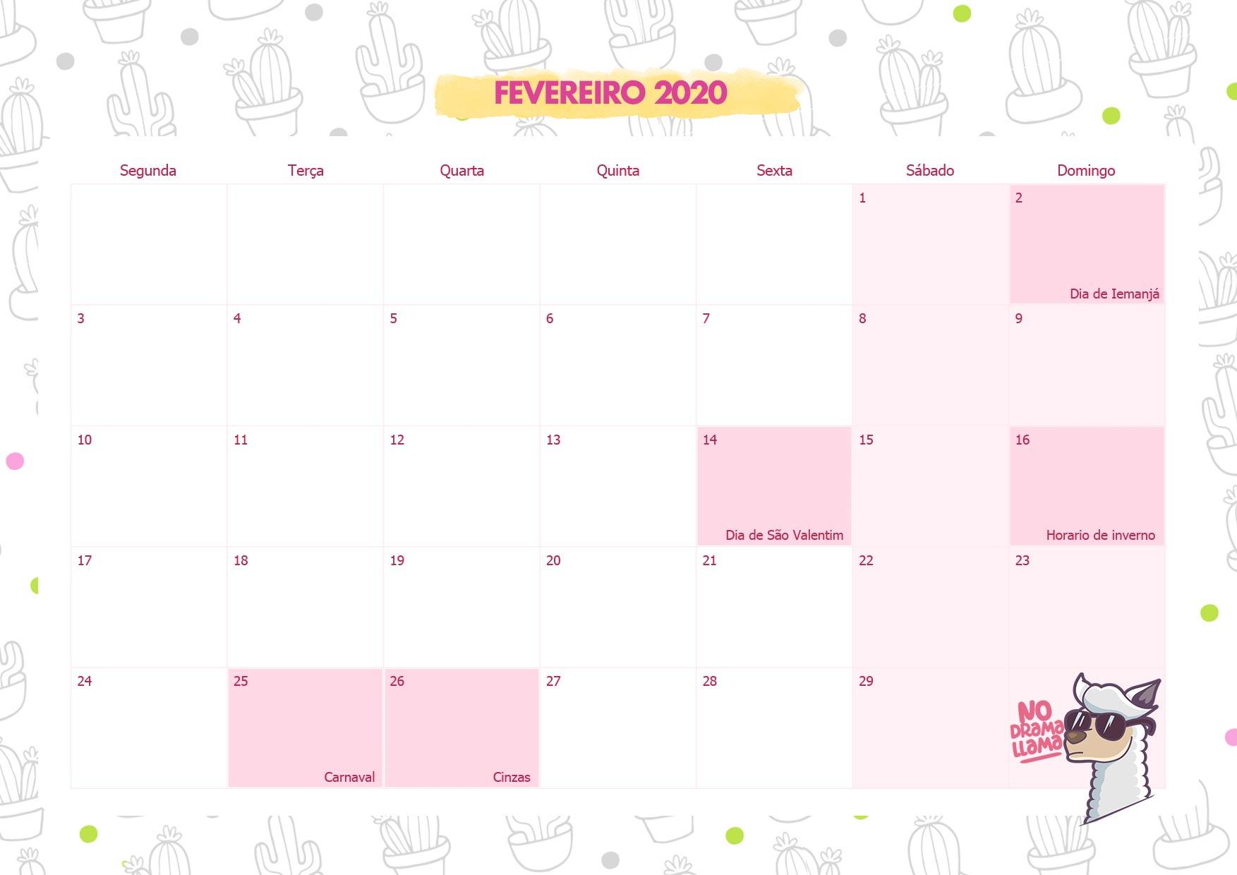 Calendario Mensal No Drama Lhama Fevereiro 2020