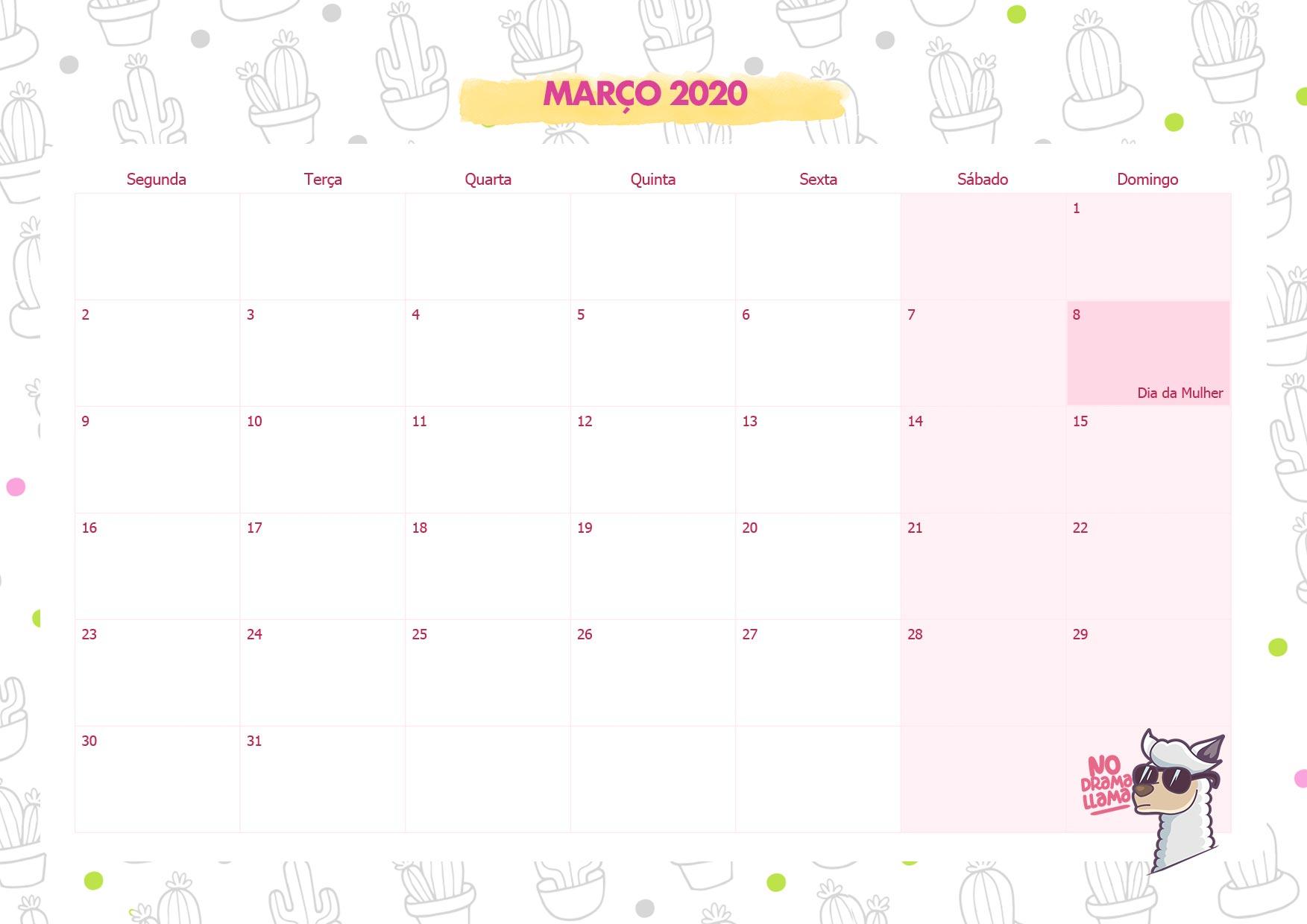 Calendario Mensal No Drama Lhama Marco 2020