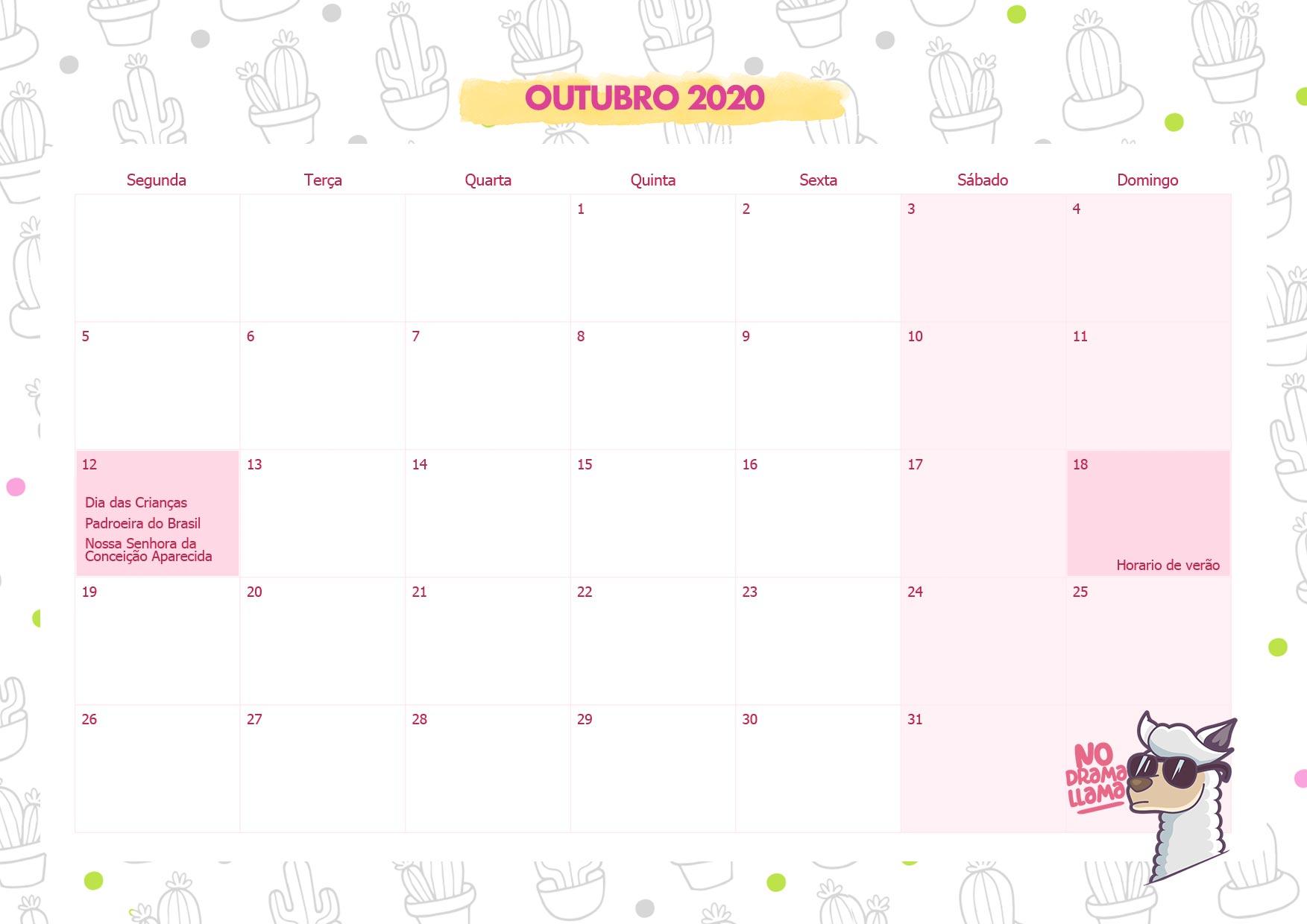 Calendario Mensal No Drama Lhama Outubro 2020