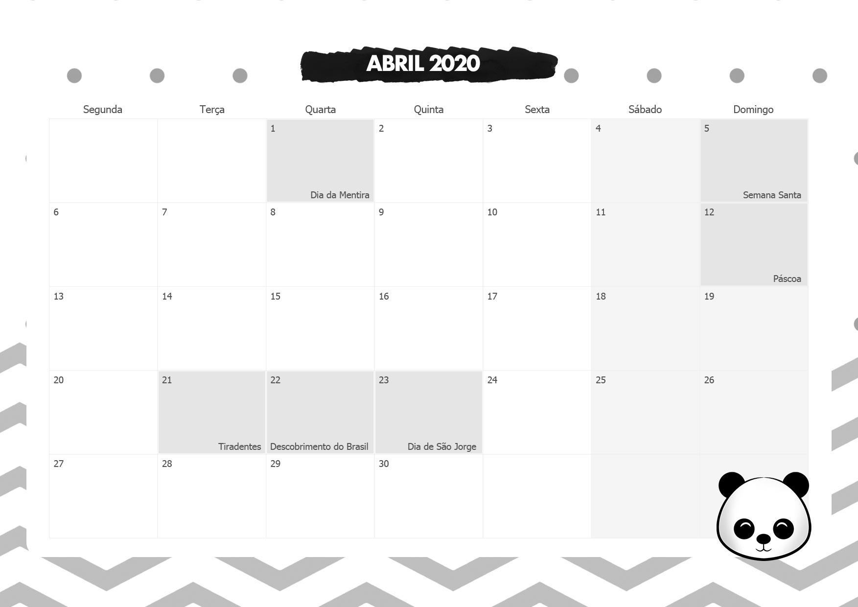 Calendario Mensal Panda Abril 2020