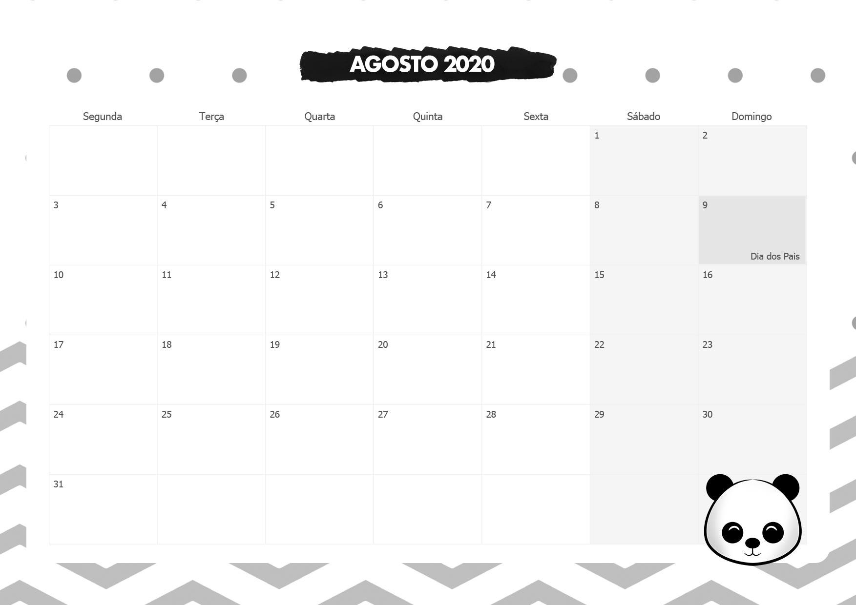Calendario Mensal Panda Agosto 2020