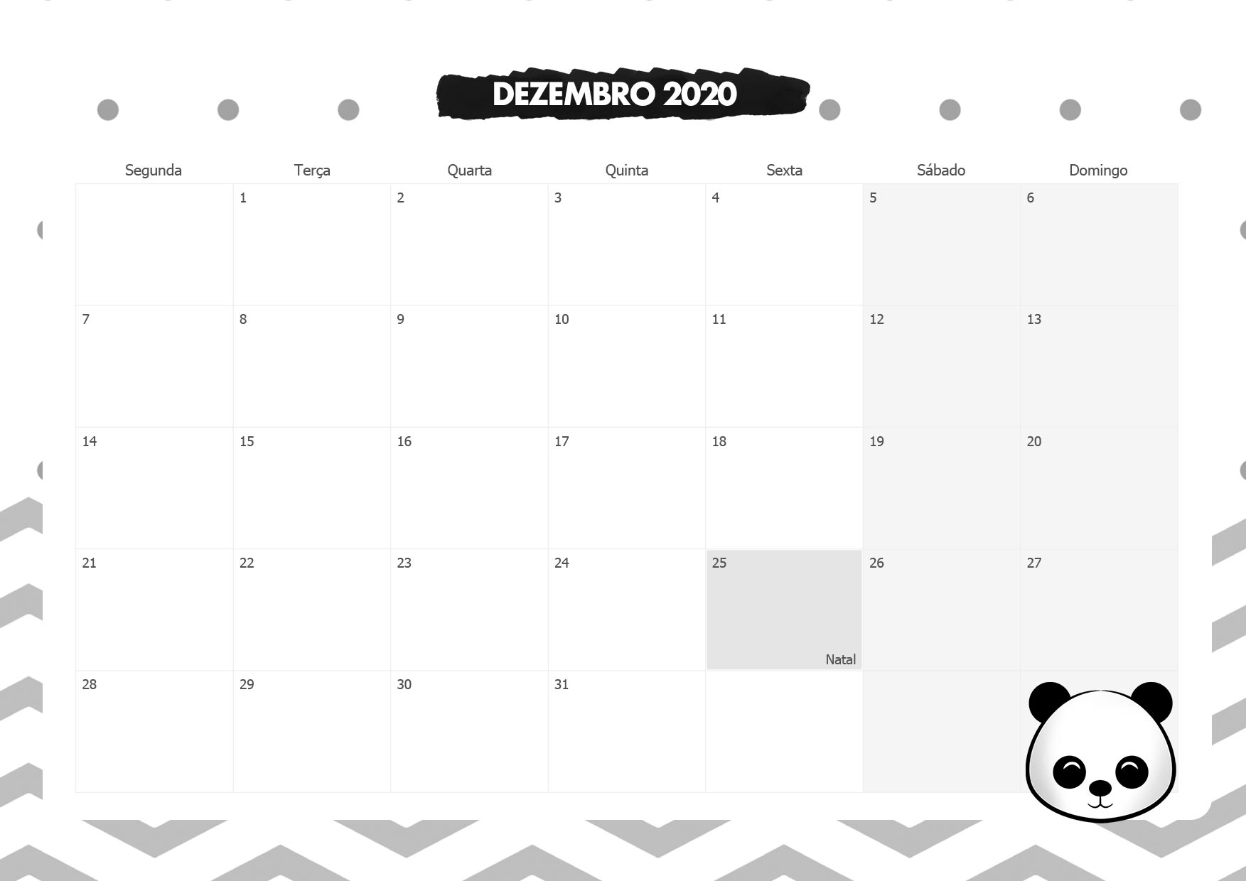 Calendario Mensal Panda Dezembro 2020