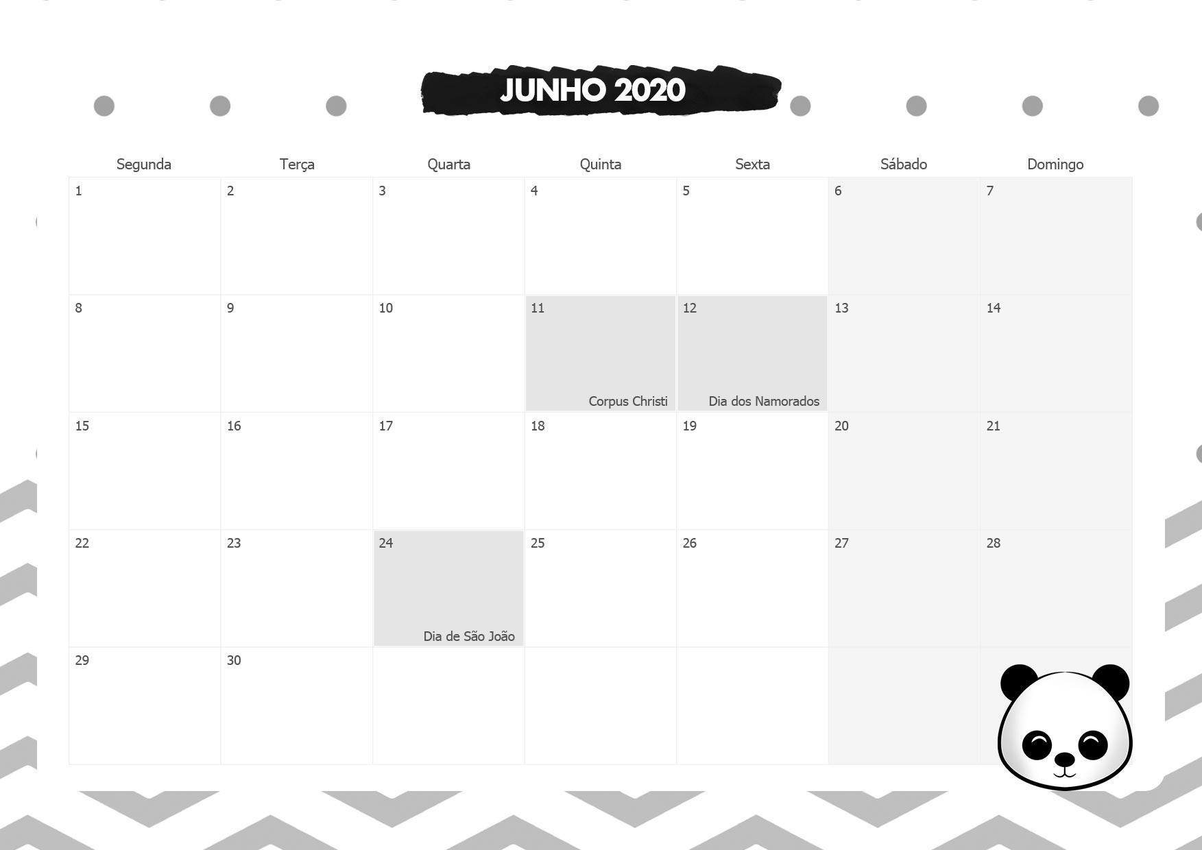 Calendario Mensal Panda Junho 2020