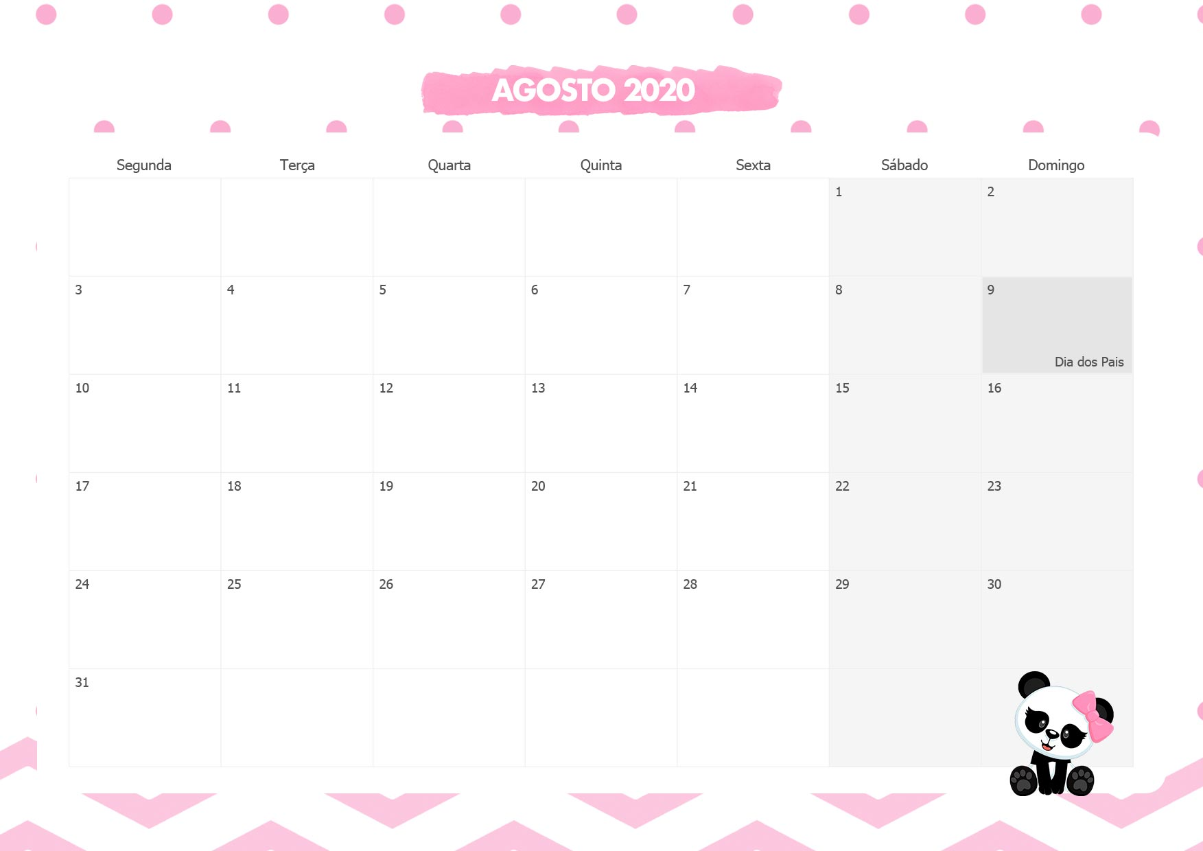 Calendario Mensal Panda Rosa Agosto 2020