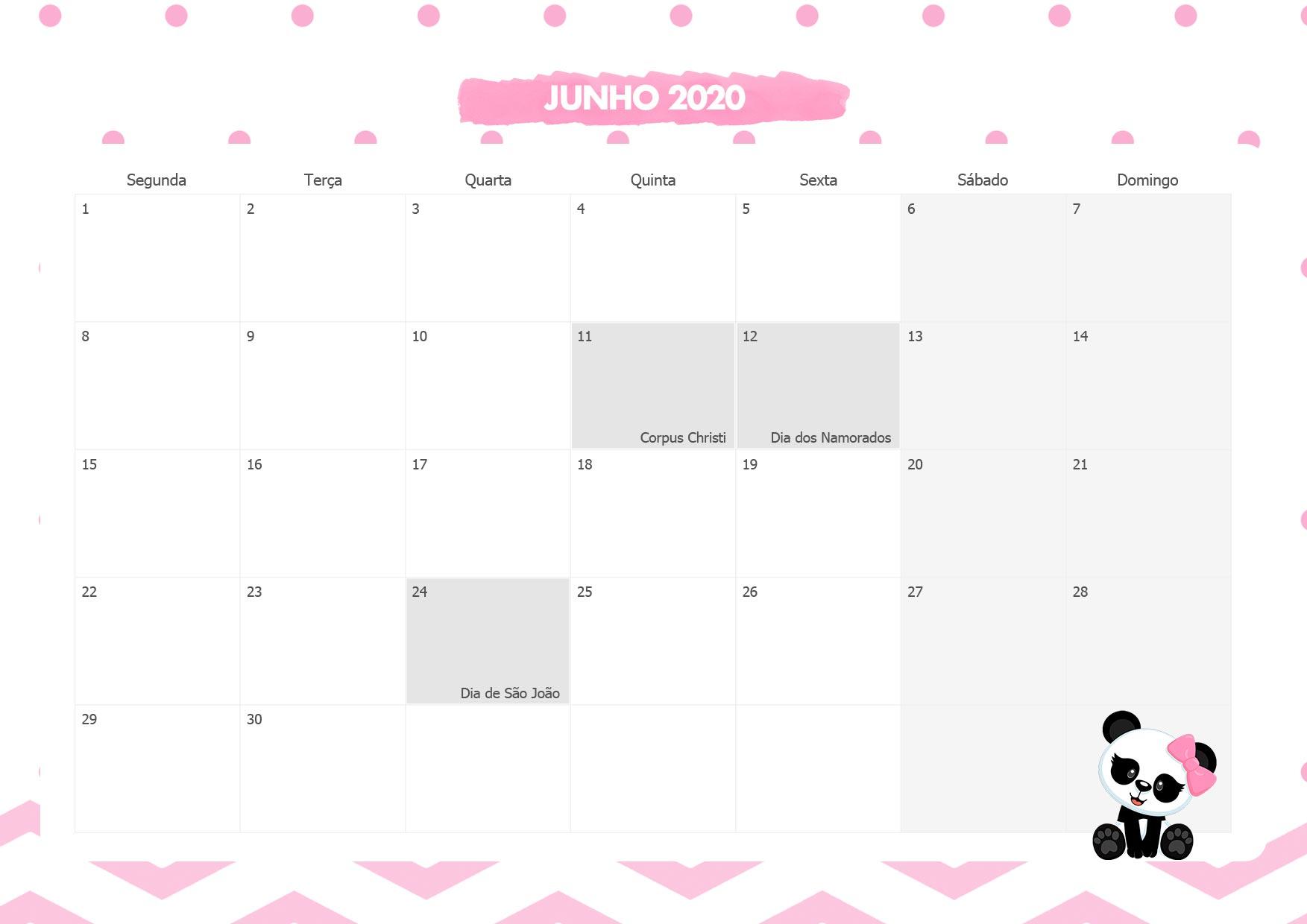 Calendario Mensal Panda Rosa Junho 2020