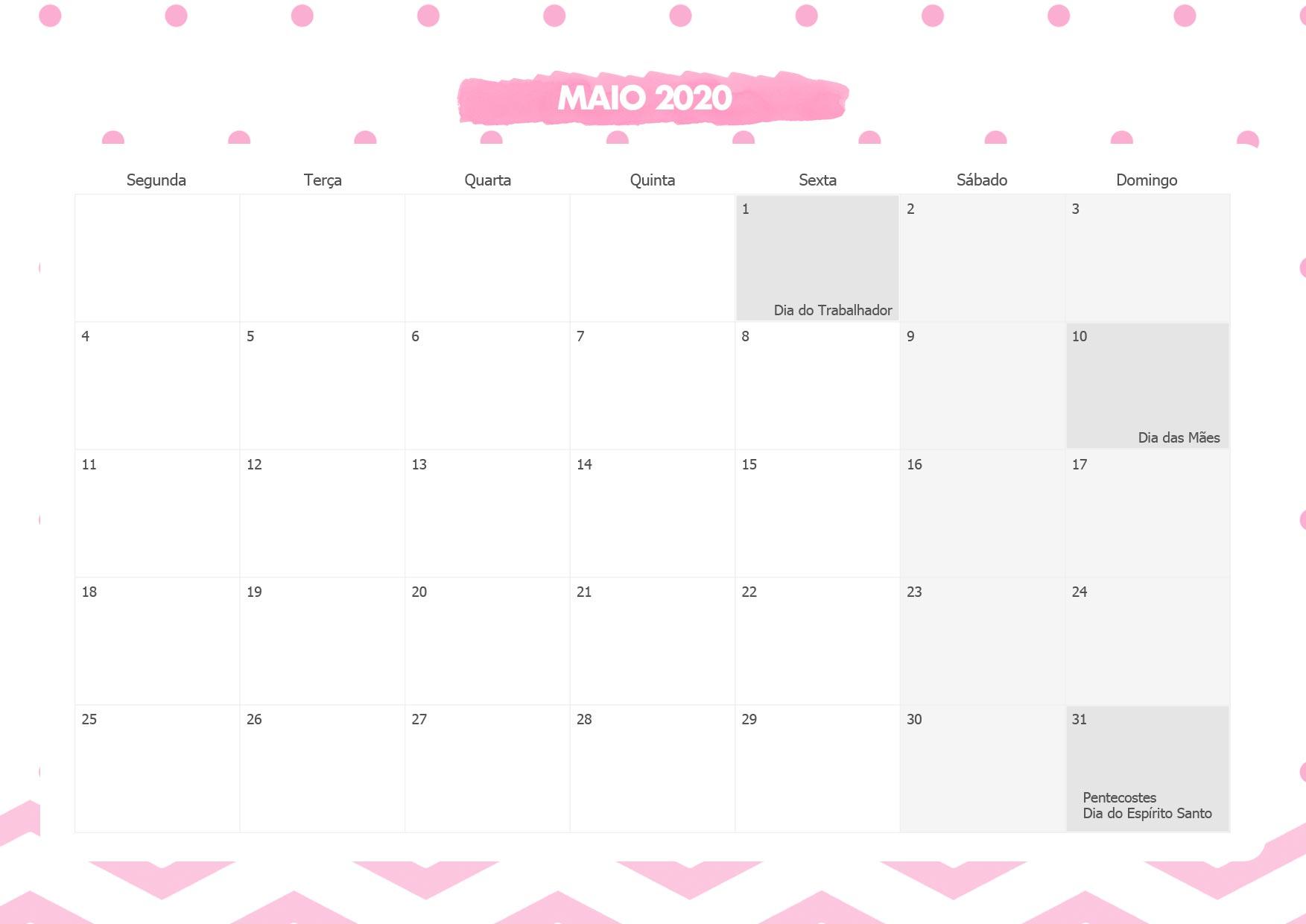 Calendario Mensal Panda Rosa Maio 2020