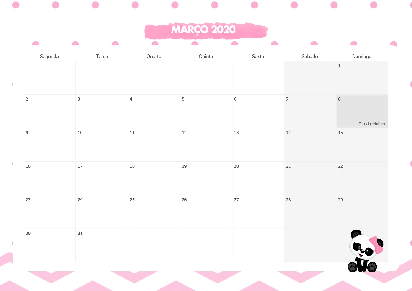 Calendario Mensal Panda Rosa Marco 2020