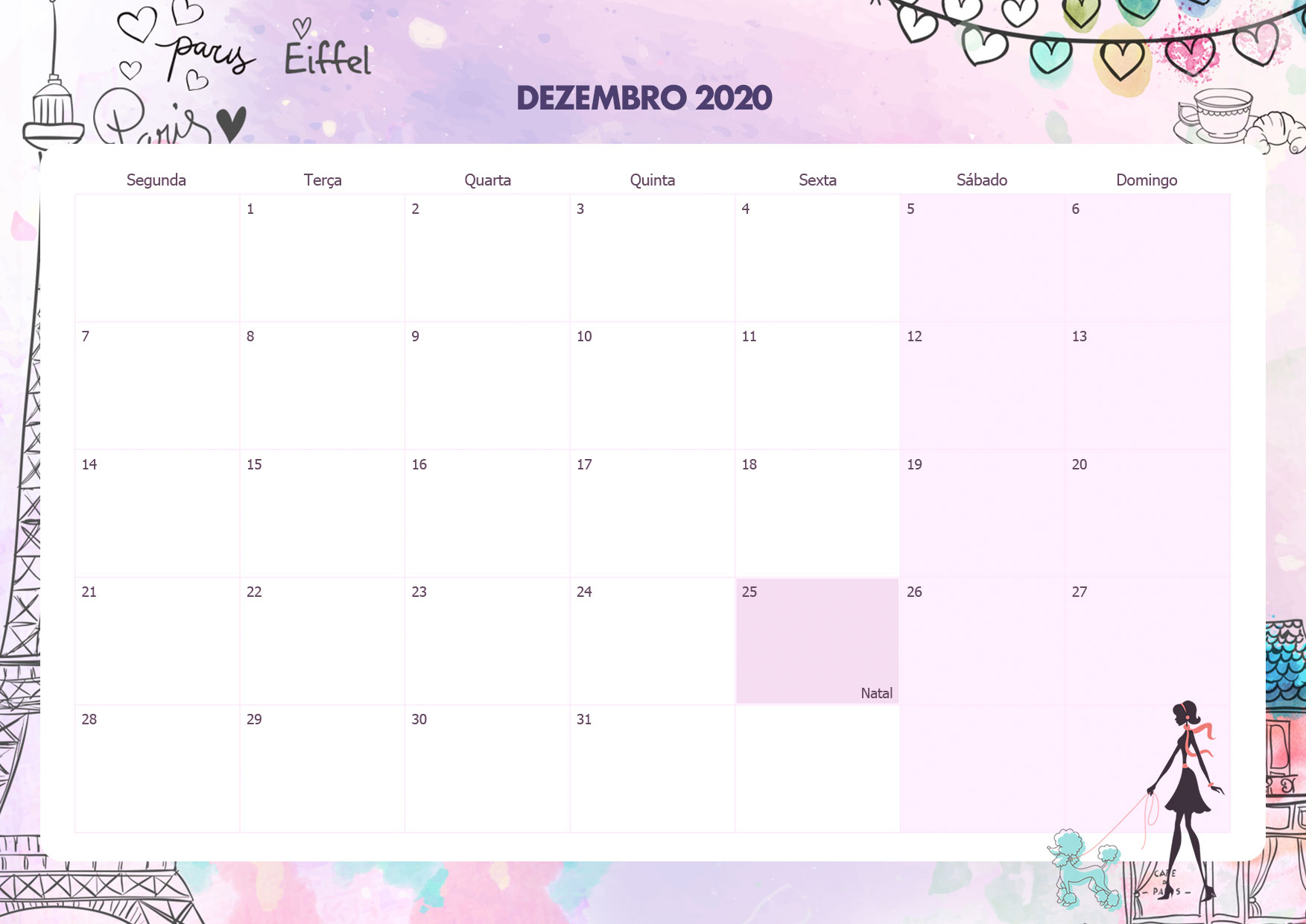 Calendario Mensal Paris Dezembro 2020