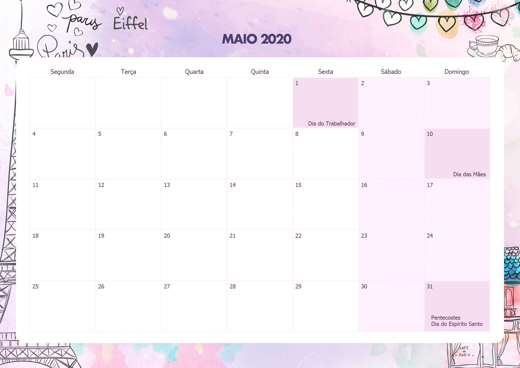 Calendario Mensal Paris Maio 2020