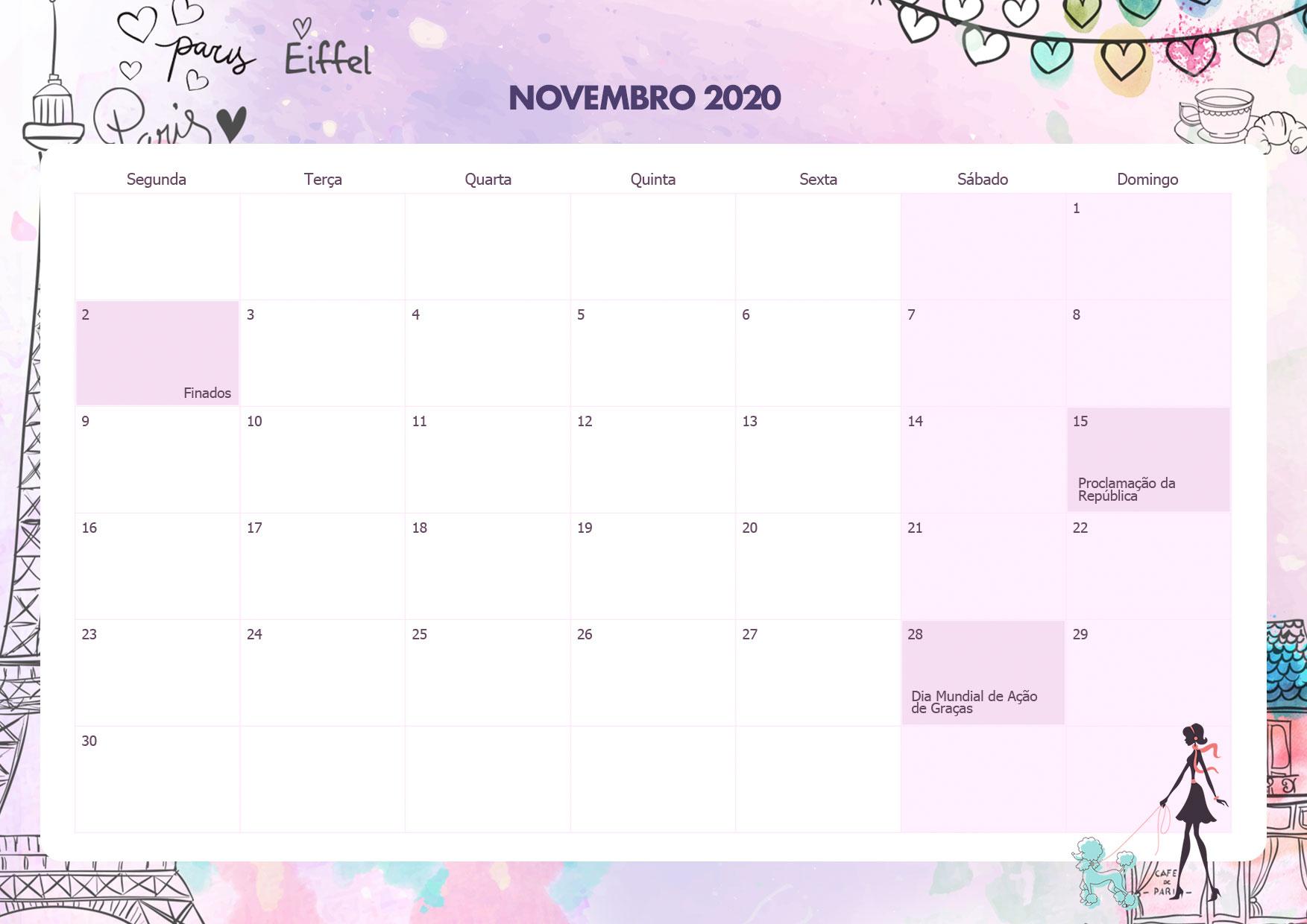 Calendario Mensal Paris Novembro 2020